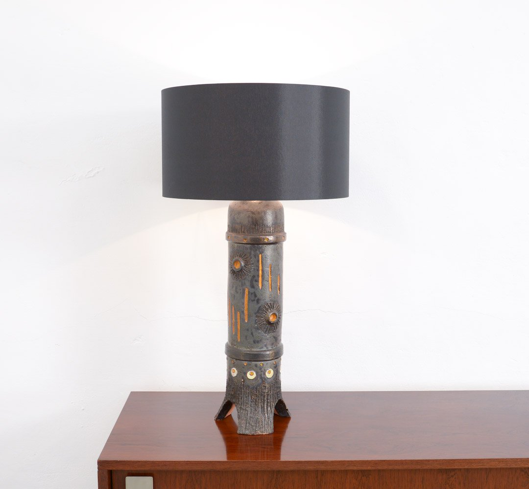 Vintage Large Black Ceramic Table Lamp From Baudouin Monteyne 10. $885.00.  Price Per Piece
