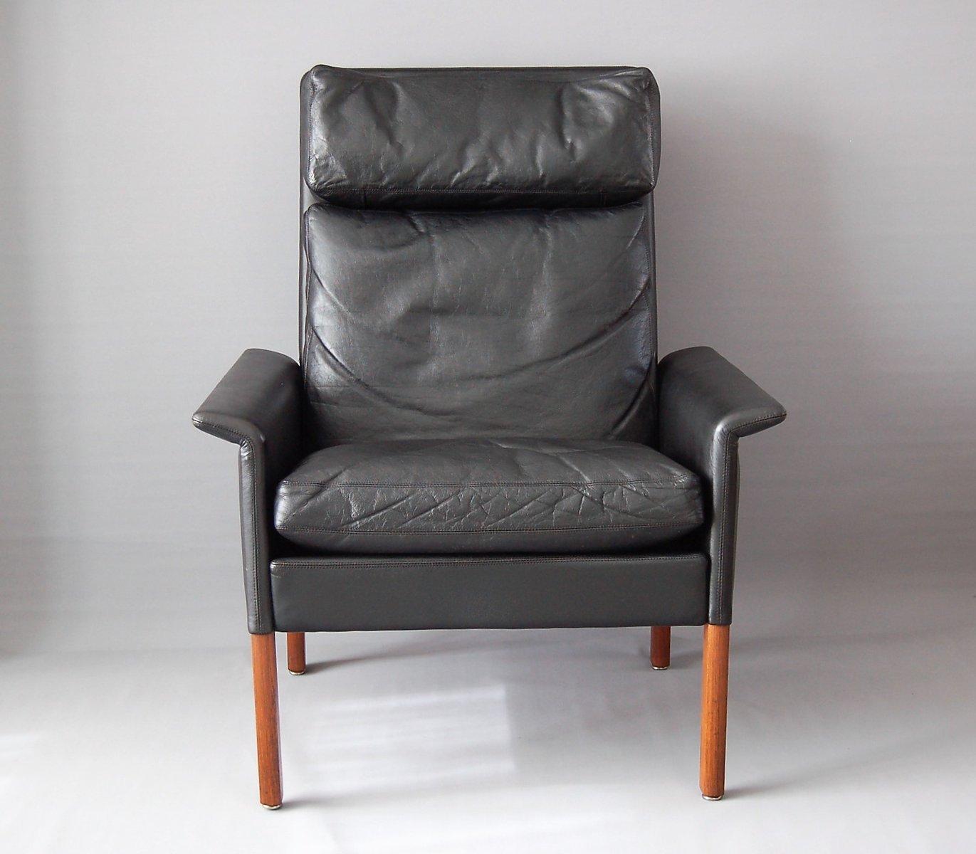 Poltrona vintage di pelle nera di Hans Olsen per CS Mobelfabrik in ...
