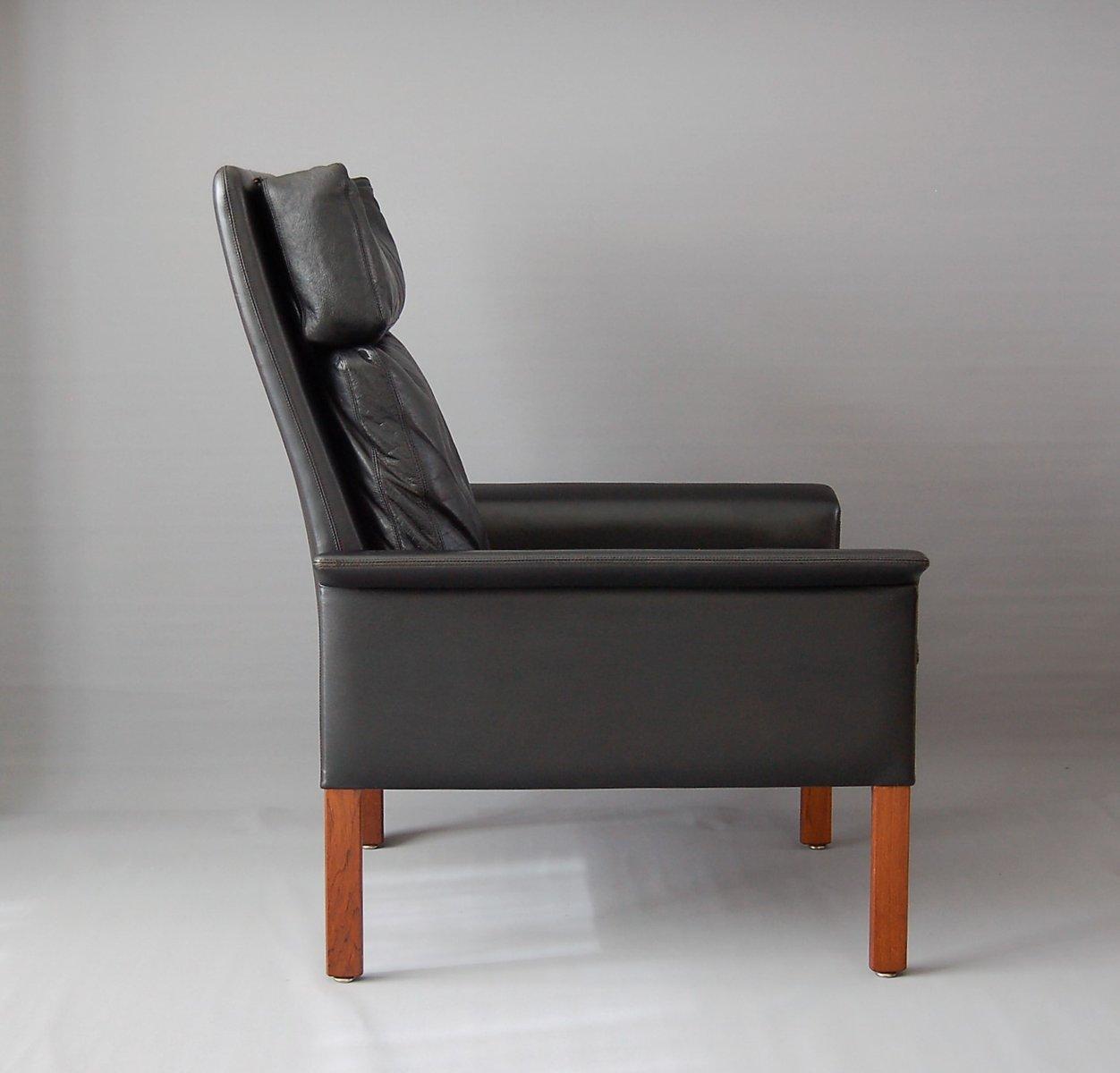 Captivating Vintage Black Leather Armchair By Hans Olsen For CS Mobelfabrik