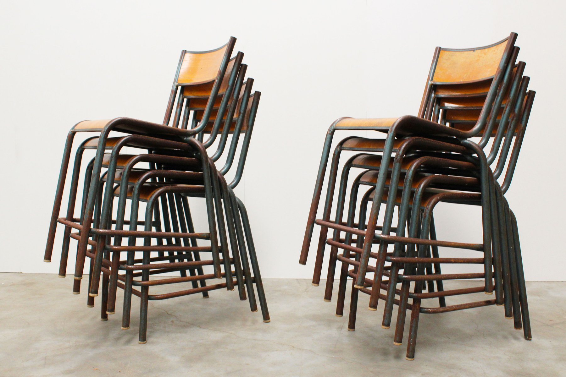 Vintage Industrial French School Chairs From Mullca, 1950s, Set Of 6 For  Sale At Pamono