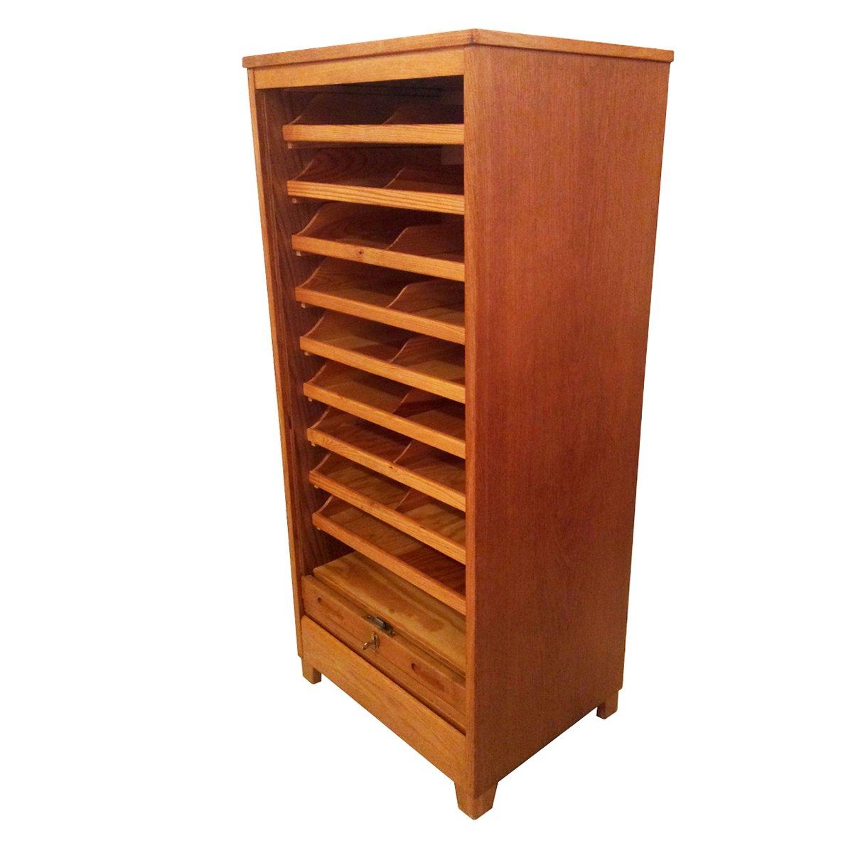 schwedischer eichenholz aktenschrank mit rollt r bei pamono kaufen. Black Bedroom Furniture Sets. Home Design Ideas