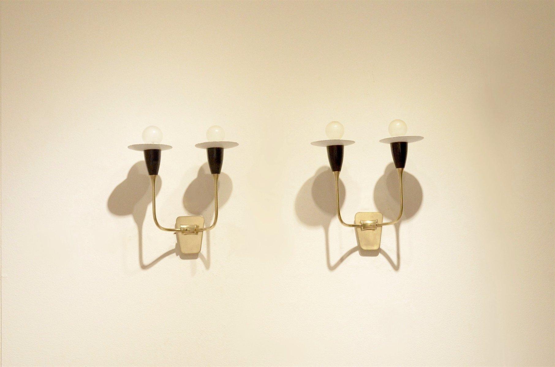 Genial Mid Century Italian Minimalist Black U0026 White Perforated Metal Wall Sconces,  Set Of 2