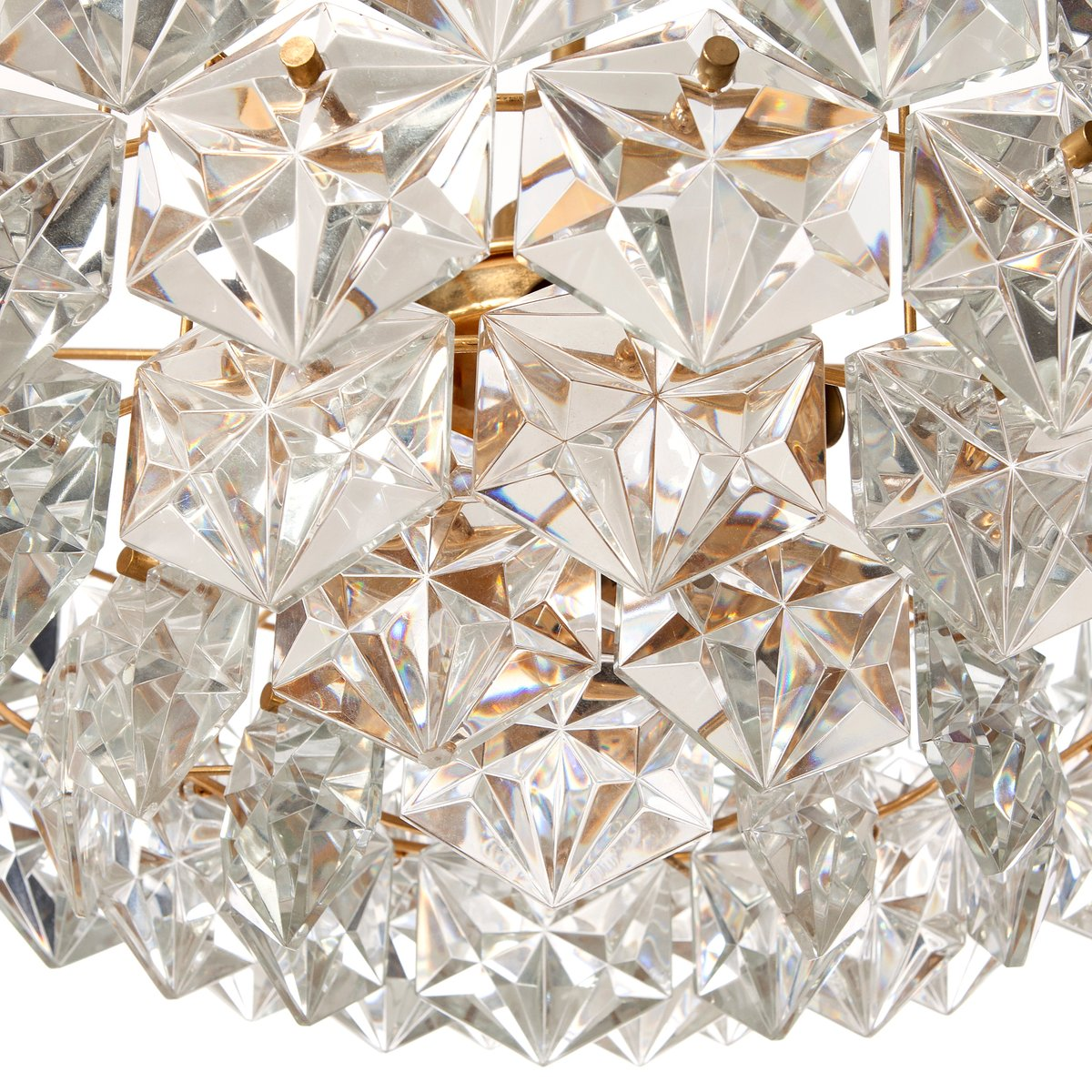Mid century seven light hexagonal crystal glass gilt brass mid century seven light hexagonal crystal glass gilt brass chandelier from kinkeldey mozeypictures Image collections