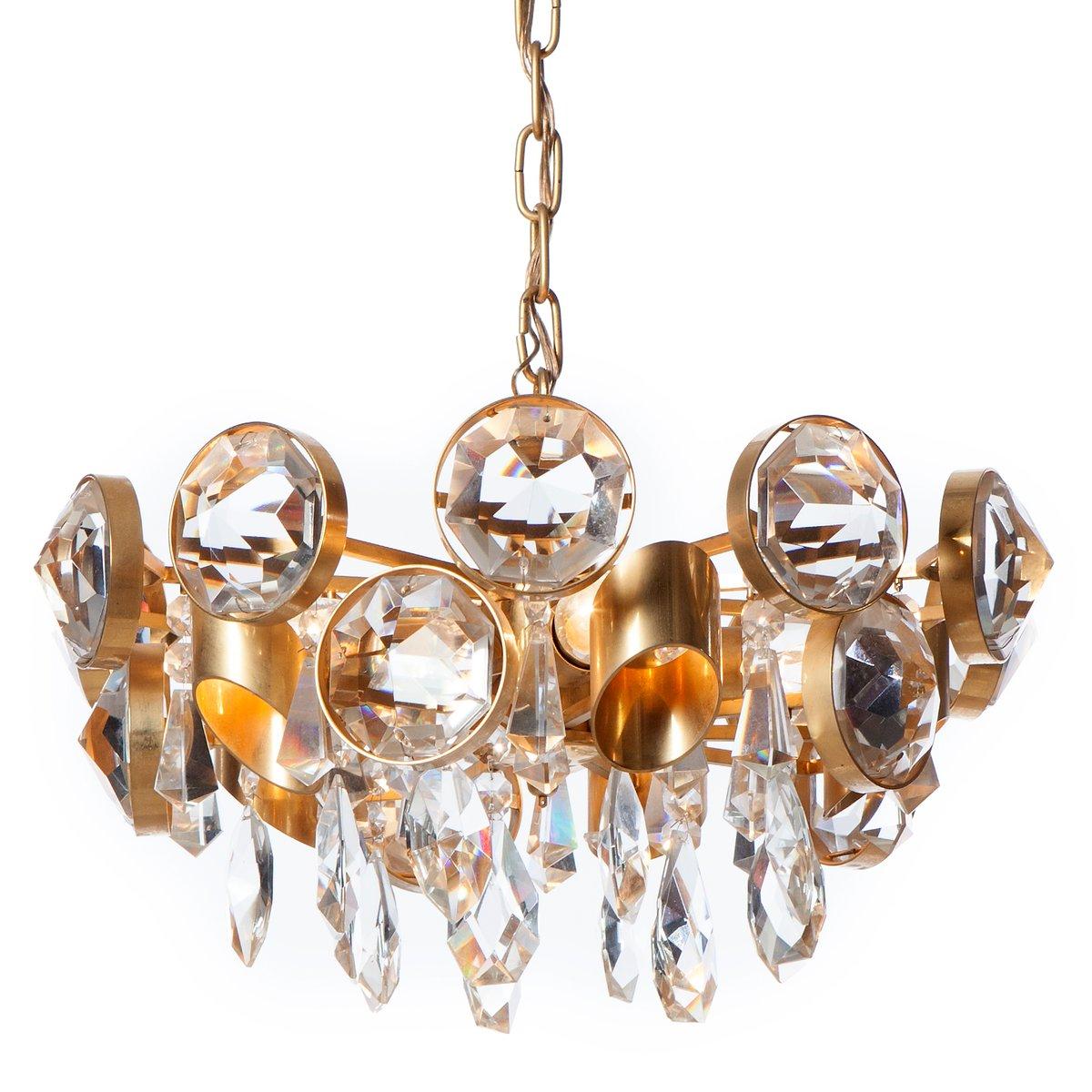 Mid century five light gilt brass crystal glass chandelier en mid century five light gilt brass crystal glass chandelier aloadofball Choice Image
