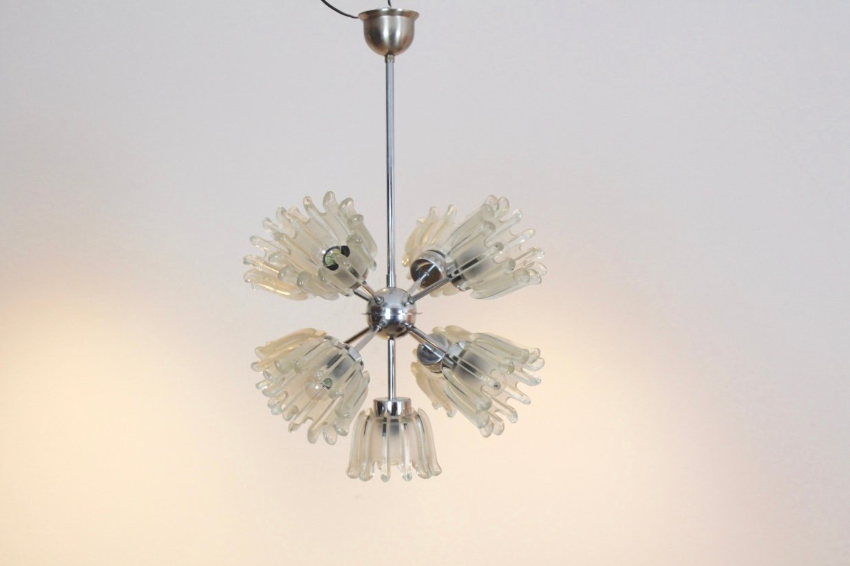 Mid century chrome and frosted tulip glass chandelier by doria for mid century chrome and frosted tulip glass chandelier by doria aloadofball Images
