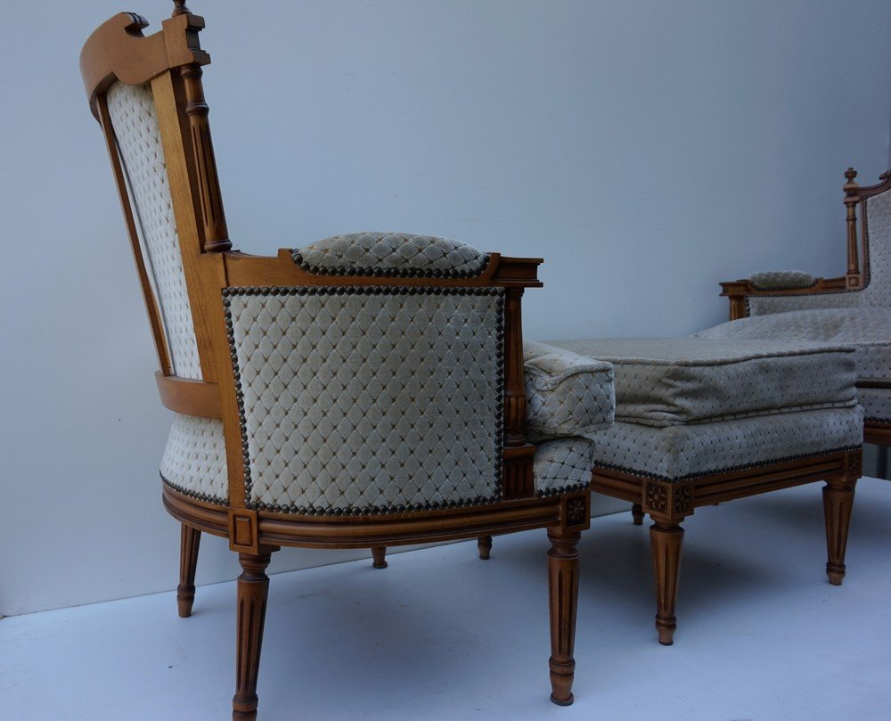 Vintage french louis xvi style salon armchairs with for Salon style louis 16