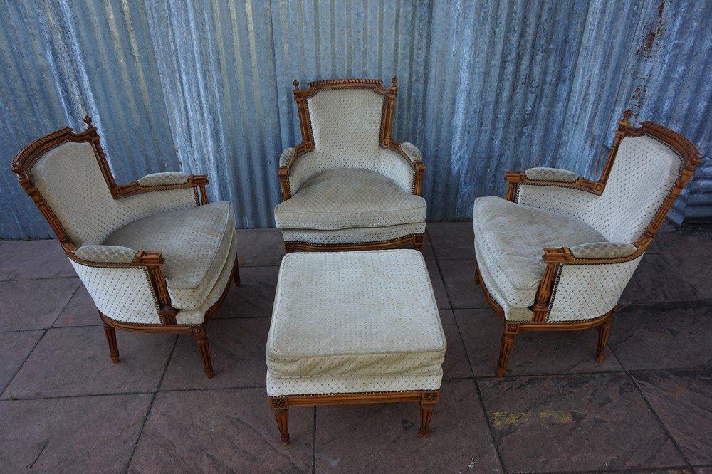 vintage french louis xvi style salon armchairs with ottoman - Bergroer Sessel Und Ottomane