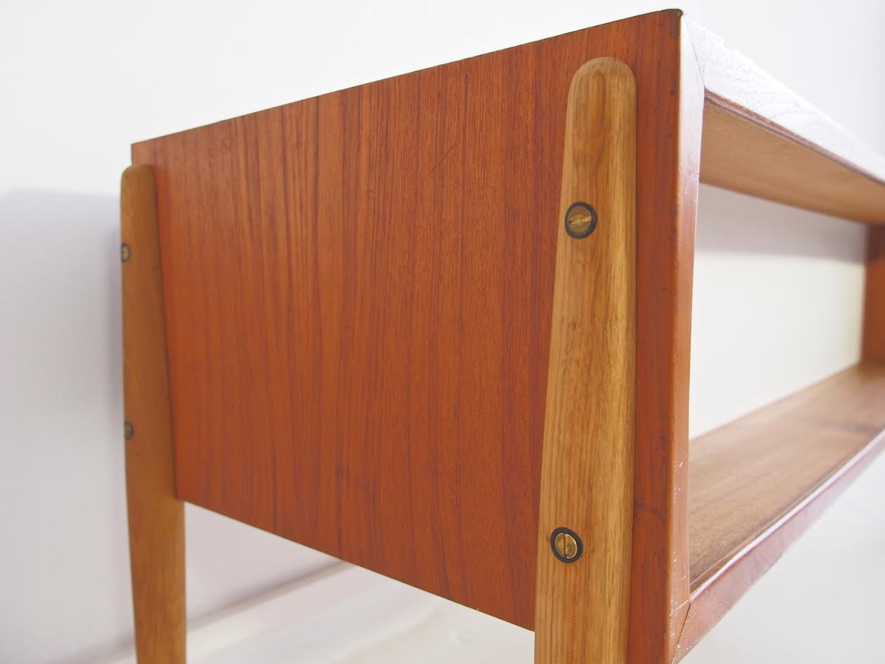 Mid century danish teak and oak console with glass sliding for Sliding glass doors for sale
