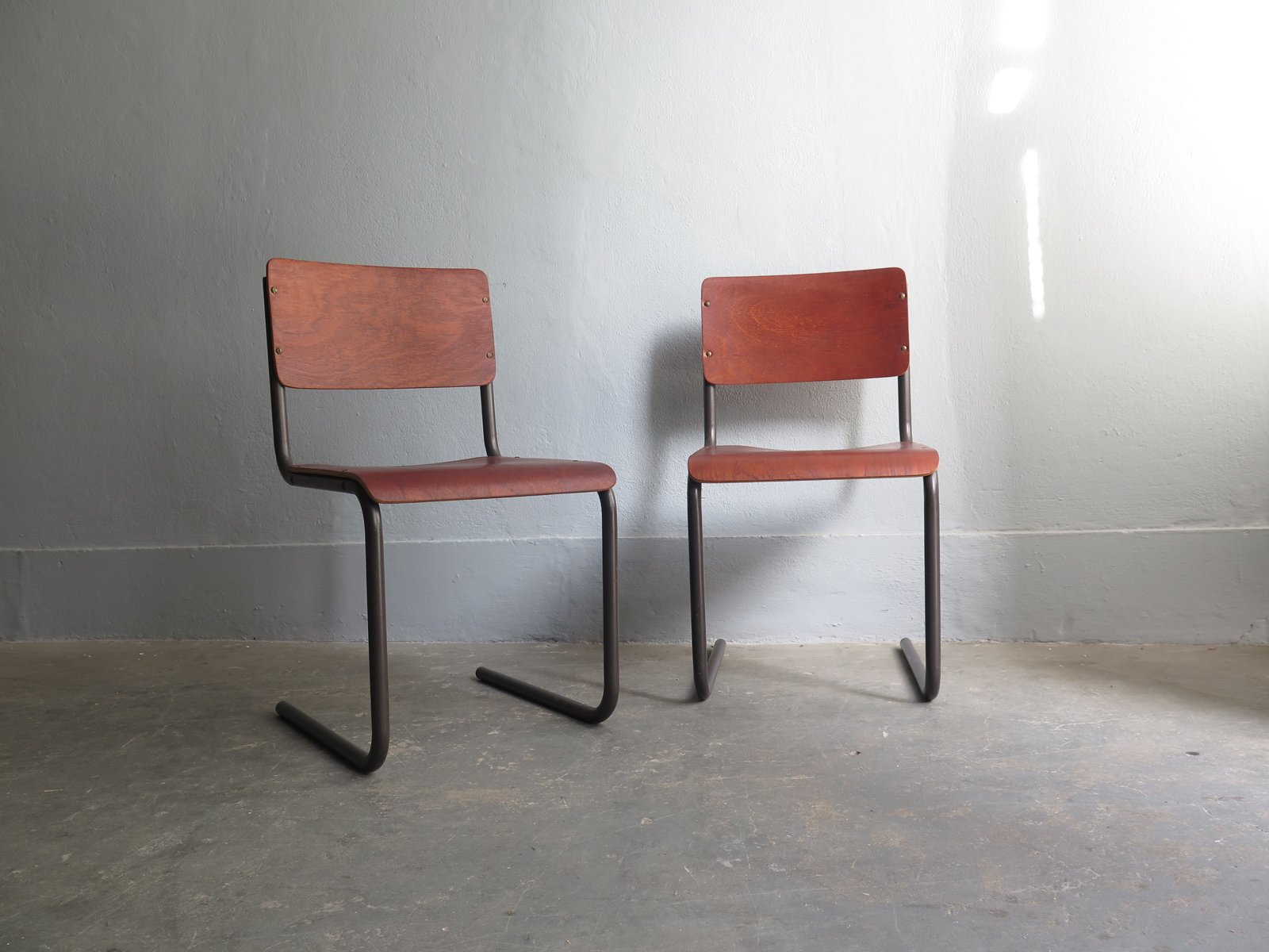 Vintage Plywood Dining Chairs With Metal Tubular Frames, Set Of 2