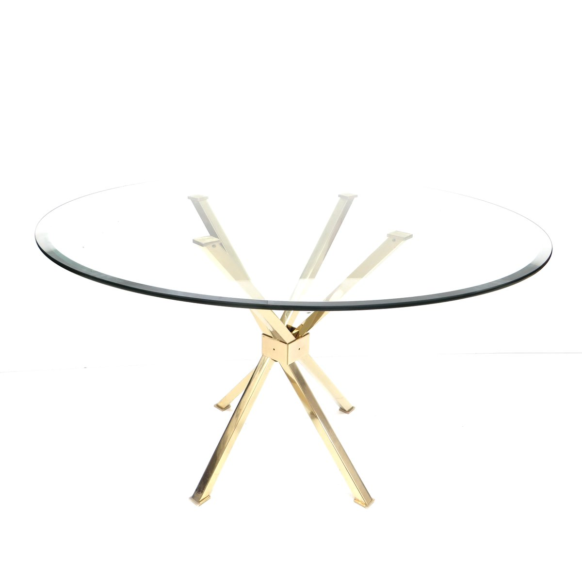 Hollywood Regency Glass And Brass Round Dining Table