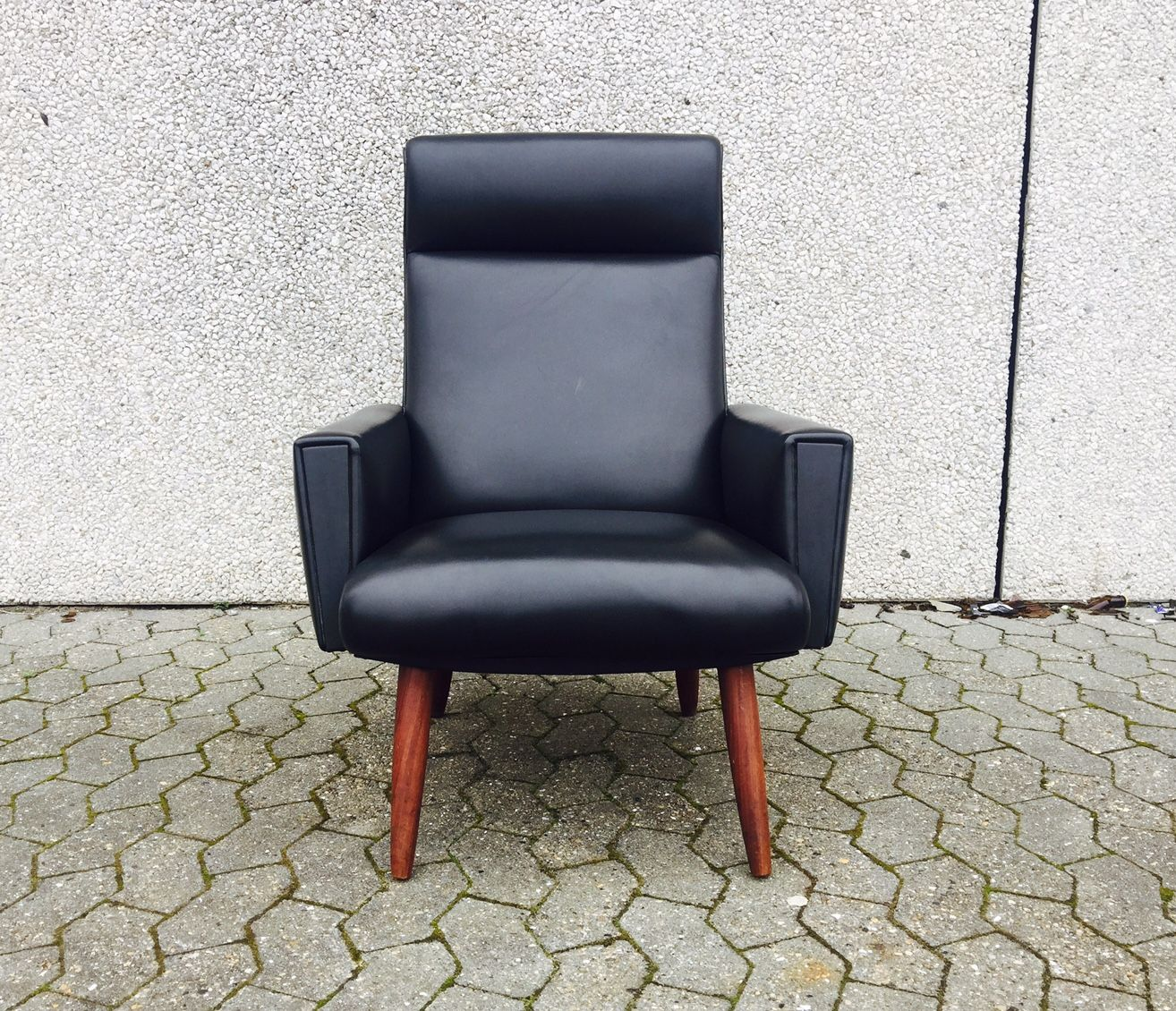 Danish Modern Black Leatherette And Teak Highback Chair 1960s For At Pamono