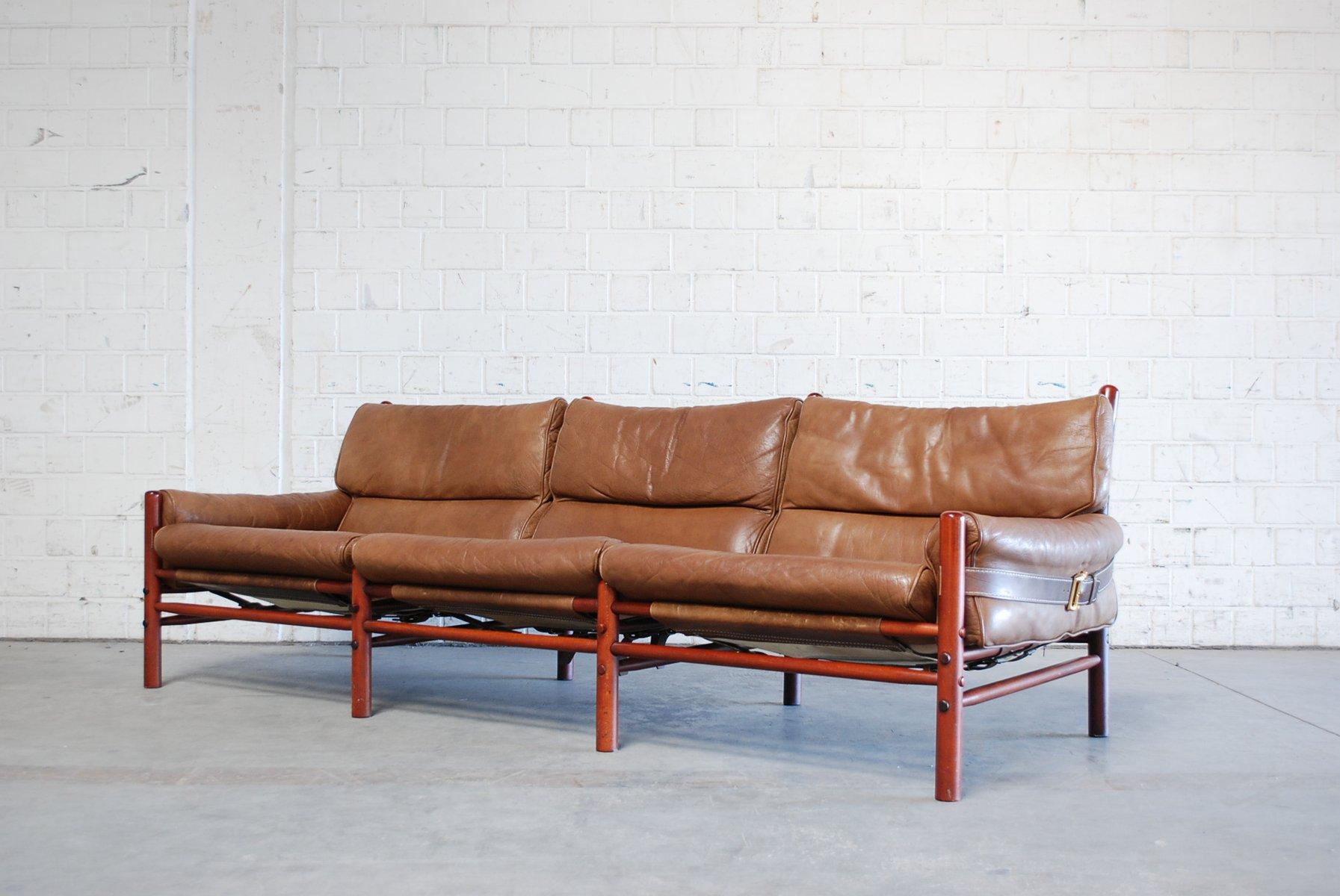 vintage kontiki 3 seater leather sofa by arne norell bei. Black Bedroom Furniture Sets. Home Design Ideas