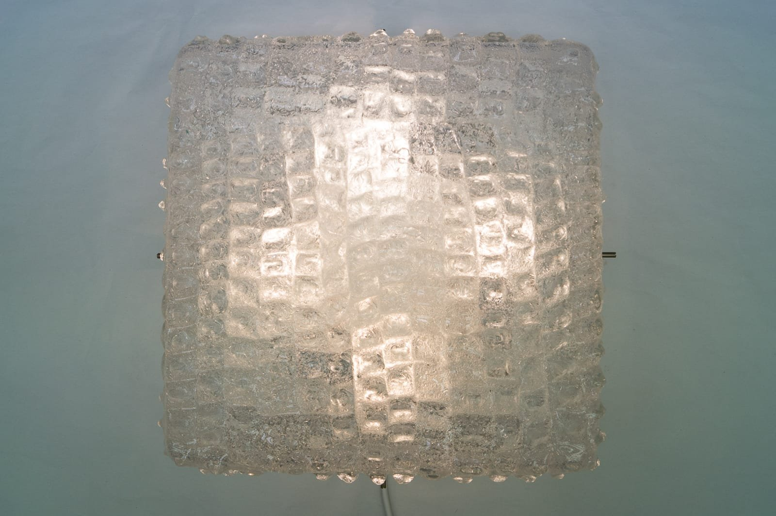 Large Vintage Wall Lamp In Structured Glass From Kalmar