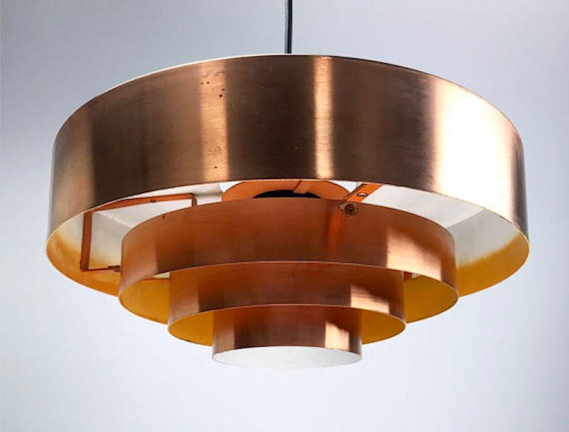 Mid century danish roulet copper ceiling light by jo hammerborg price per piece aloadofball Gallery