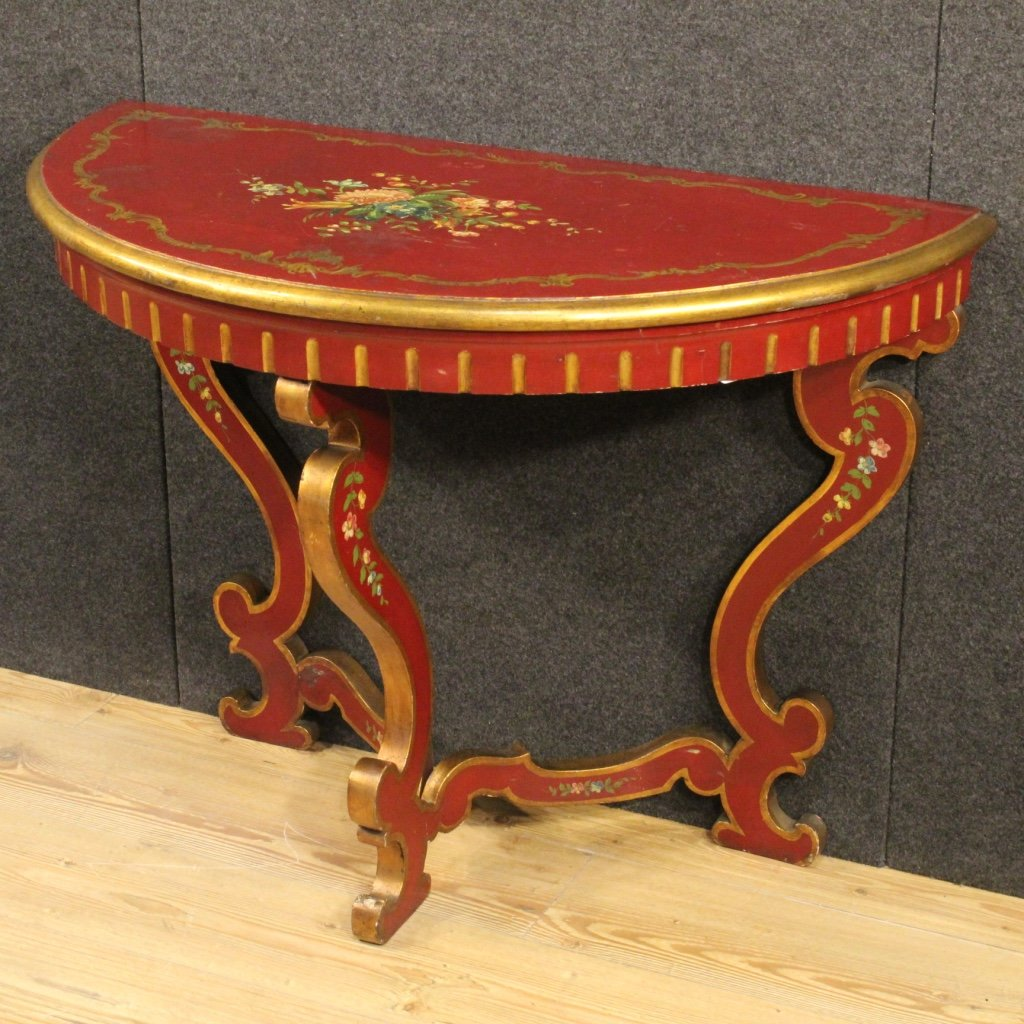 Italian lacquered and painted demi lune console table - Table cuisine demi lune ...