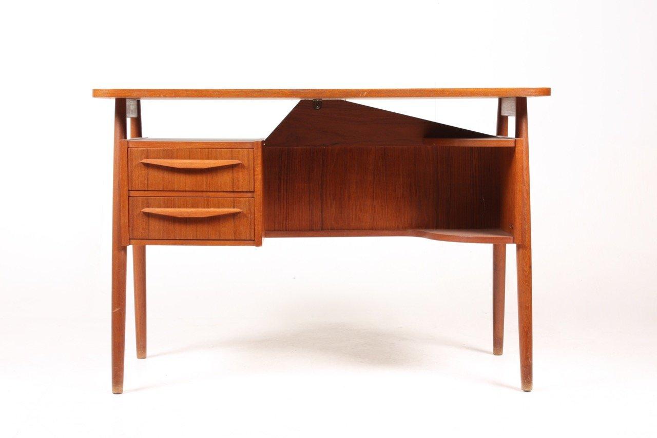freistehender d nischer mid century teak schreibtisch 1950er bei pamono kaufen. Black Bedroom Furniture Sets. Home Design Ideas