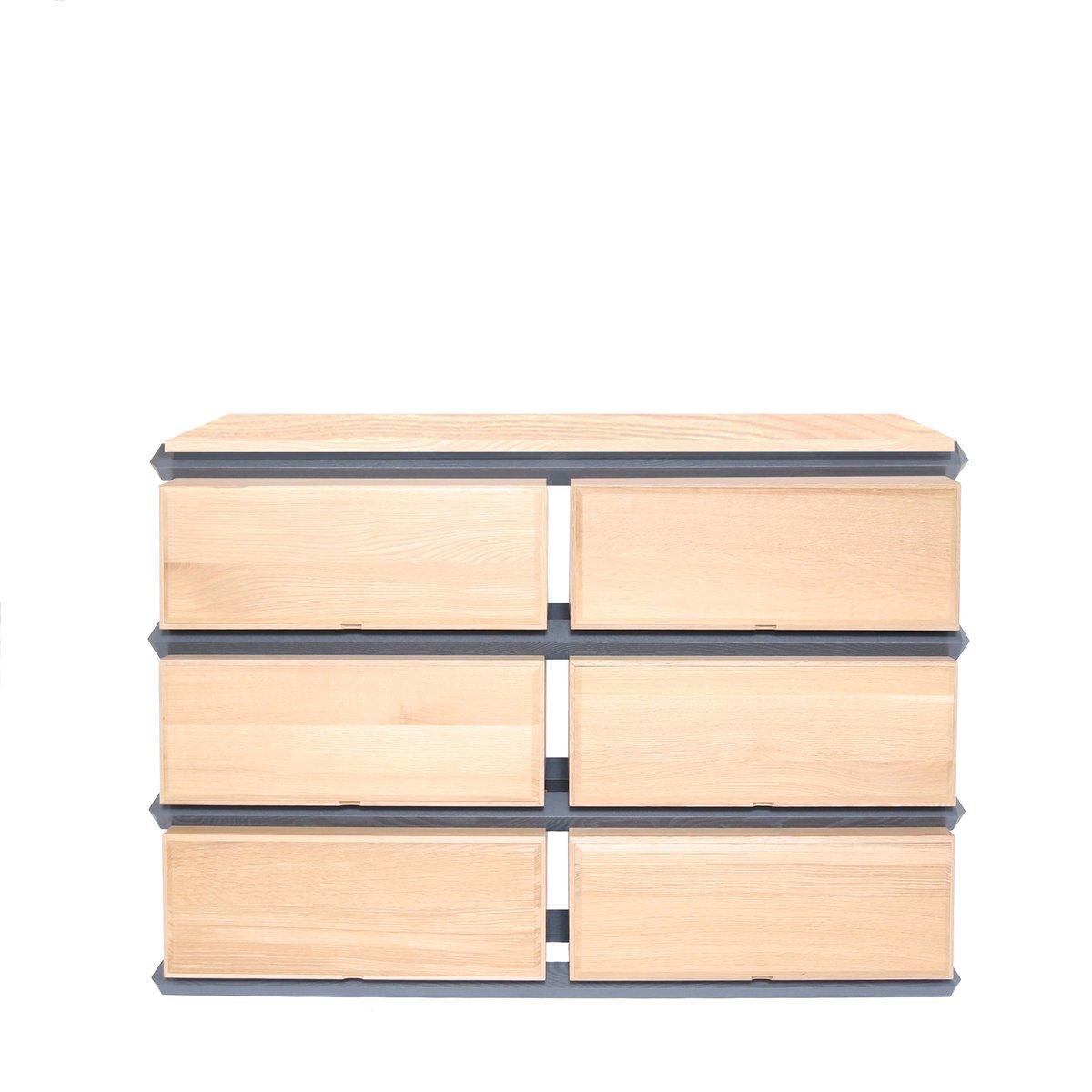 Cassettiera larga doppia a tre livelli in legno di Debra Folz Design ...