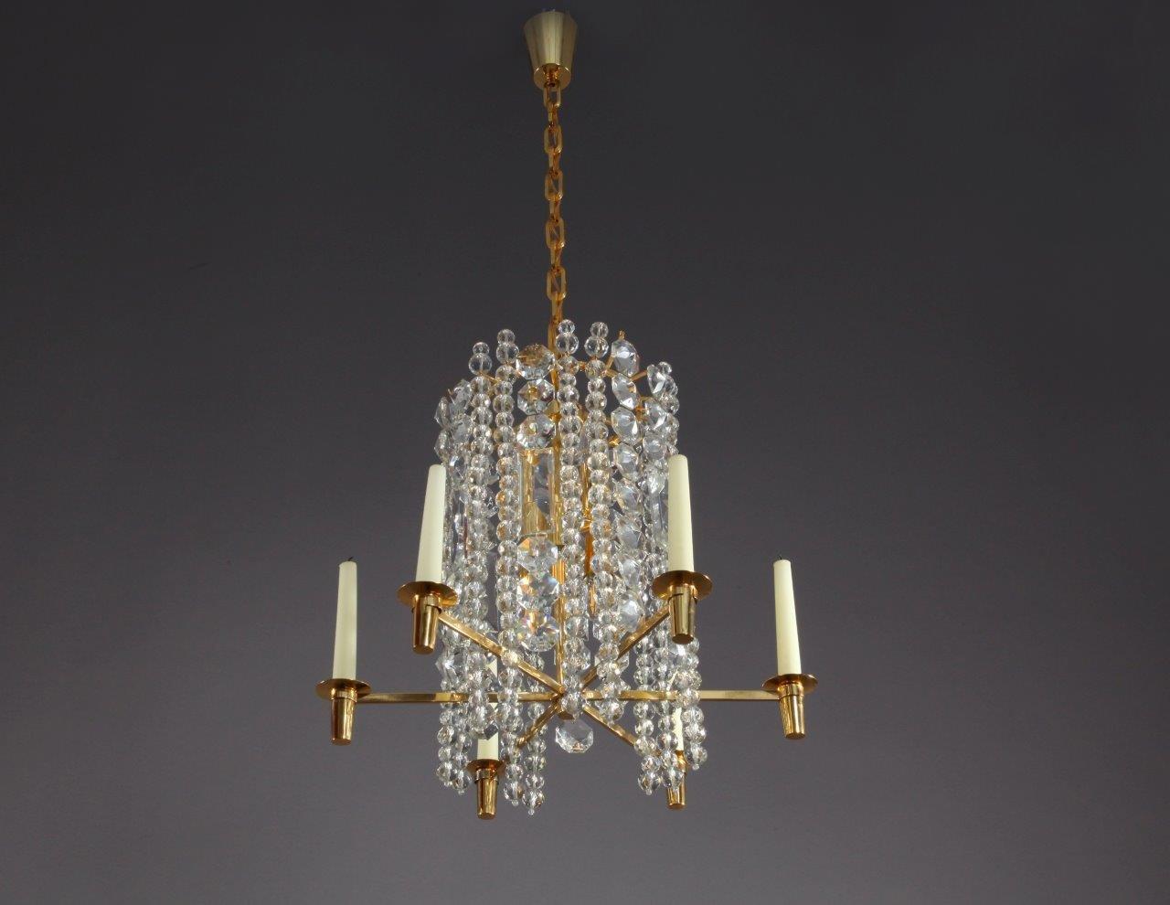 Austrian gilt brass crystal and glass chandelier pendant light from austrian gilt brass crystal and glass chandelier pendant light from bakalowits shne 1960s arubaitofo Choice Image