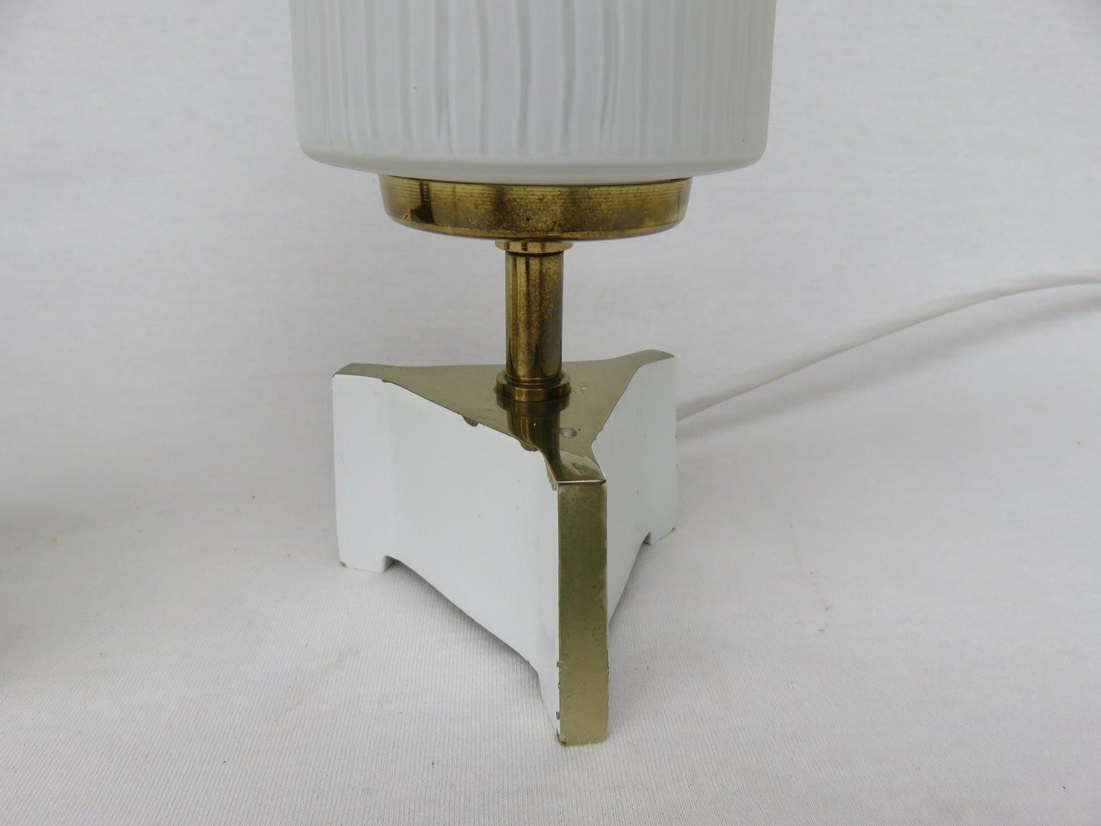 nachttischlampen aus messing und glas 1950er 2er set bei pamono kaufen. Black Bedroom Furniture Sets. Home Design Ideas