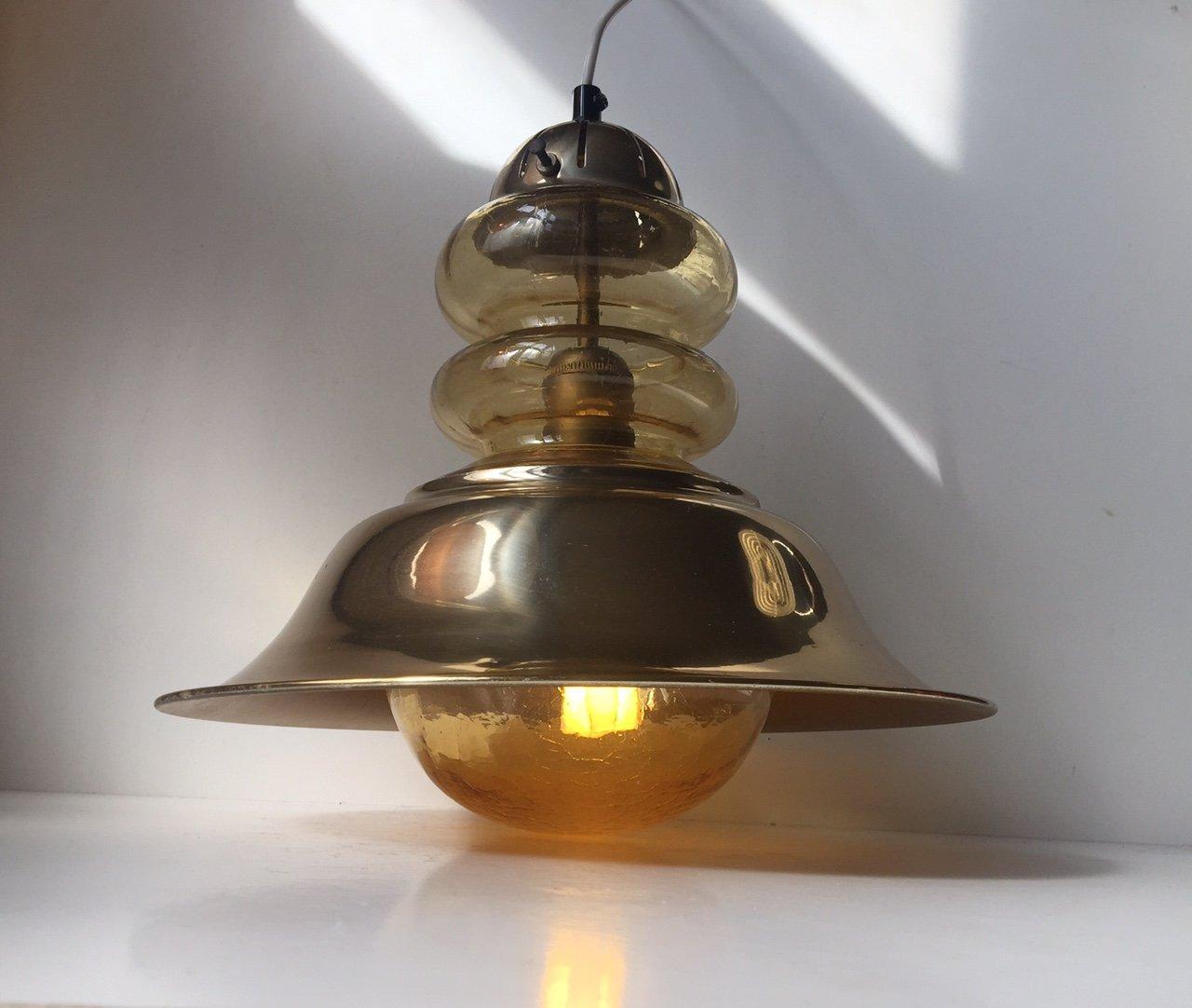 nautische d nische vintage deckenlampe aus messing und. Black Bedroom Furniture Sets. Home Design Ideas