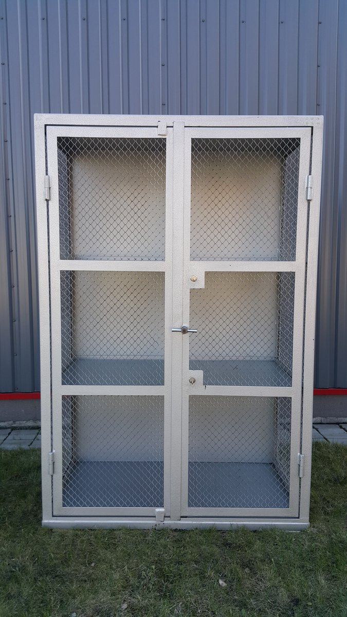 Beau Metal U0026 Mesh Industrial Cabinet, 1950s