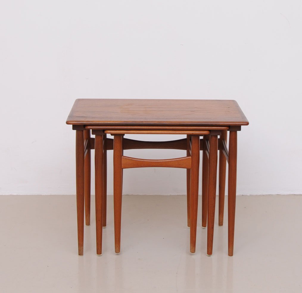 Exceptional Vintage Danish Nesting Tables In Brown Teak