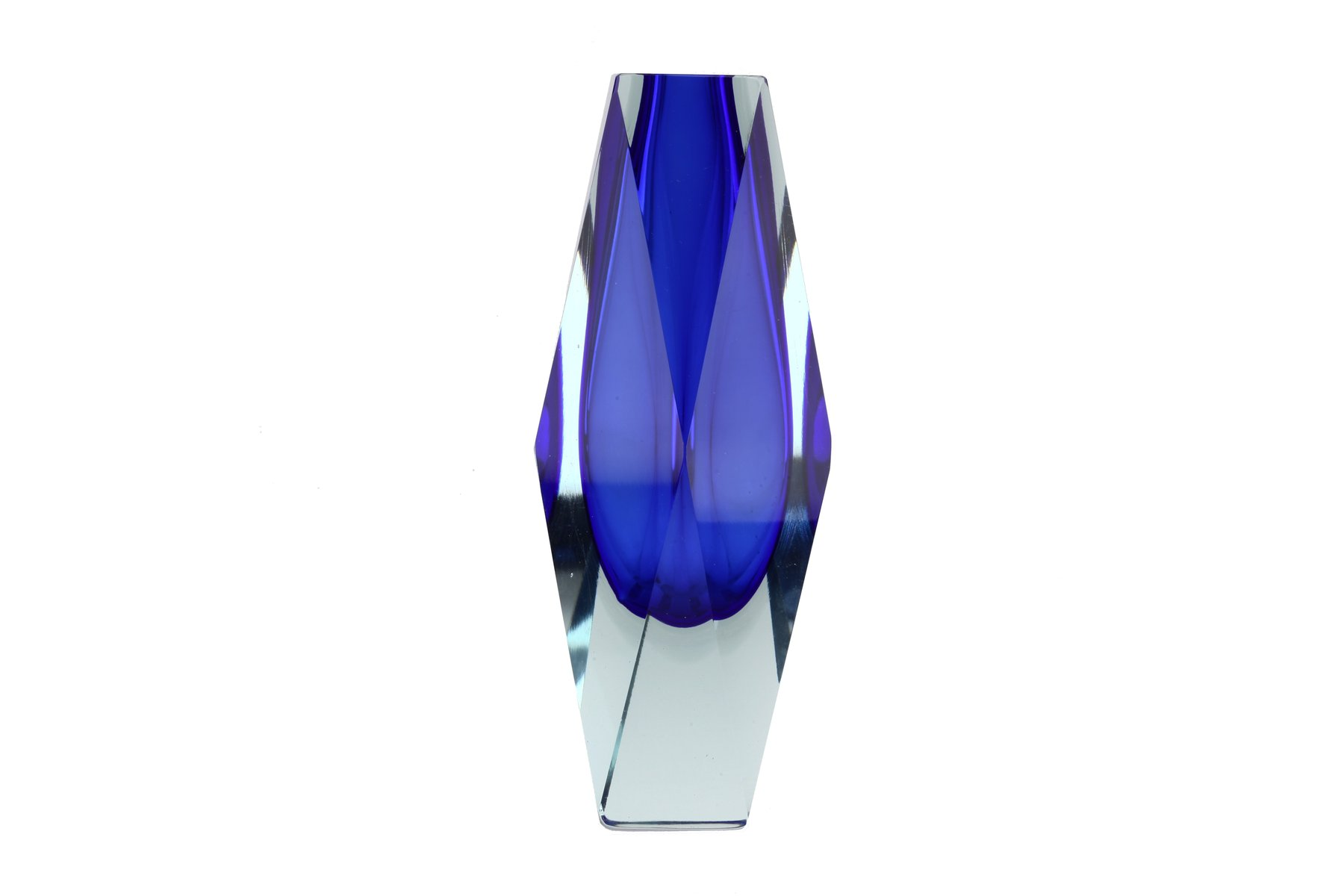 Vintage deep blue and clear faceted sommerso glass vase by vintage deep blue and clear faceted sommerso glass vase by alessandro mandruzzato for murano for sale at pamono reviewsmspy