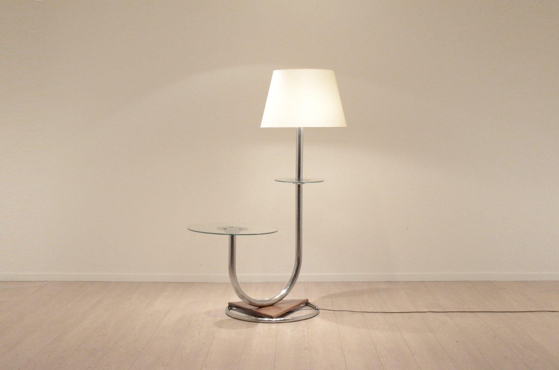 gro e art deco chrom walnuss stehlampe mit beistelltisch bei pamono kaufen. Black Bedroom Furniture Sets. Home Design Ideas