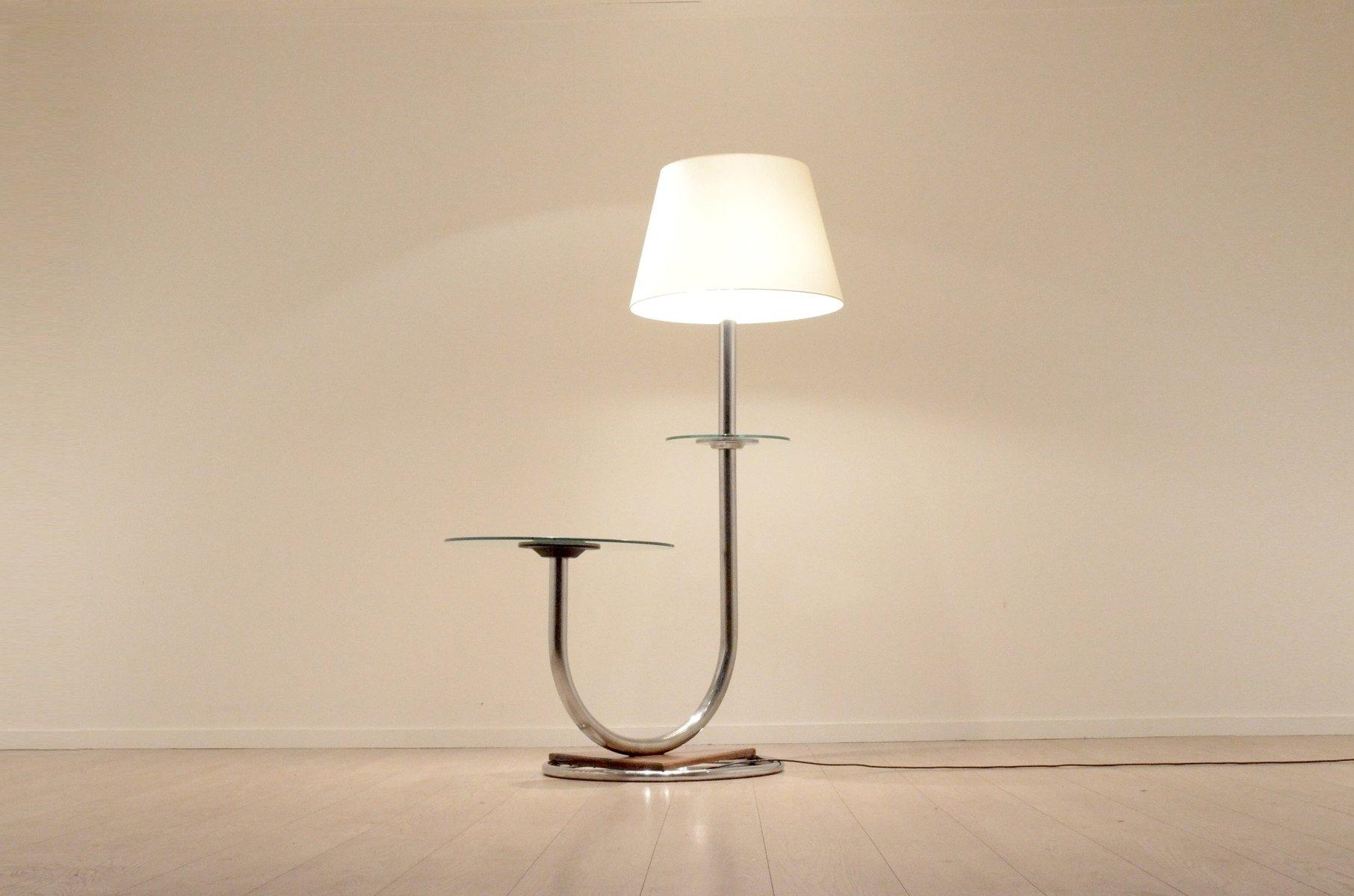Art Deco Chromium & Walnut Floor Lamp with Side Table for sale
