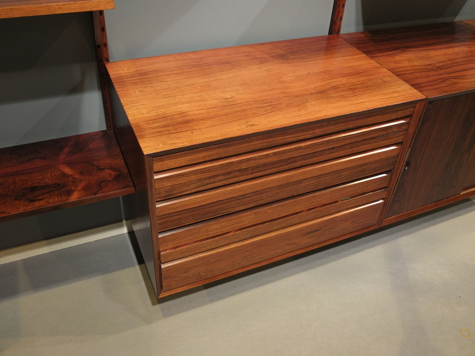 Mid Century Modular Rosewood Wall Unit by Poul Cadovius for Cado for