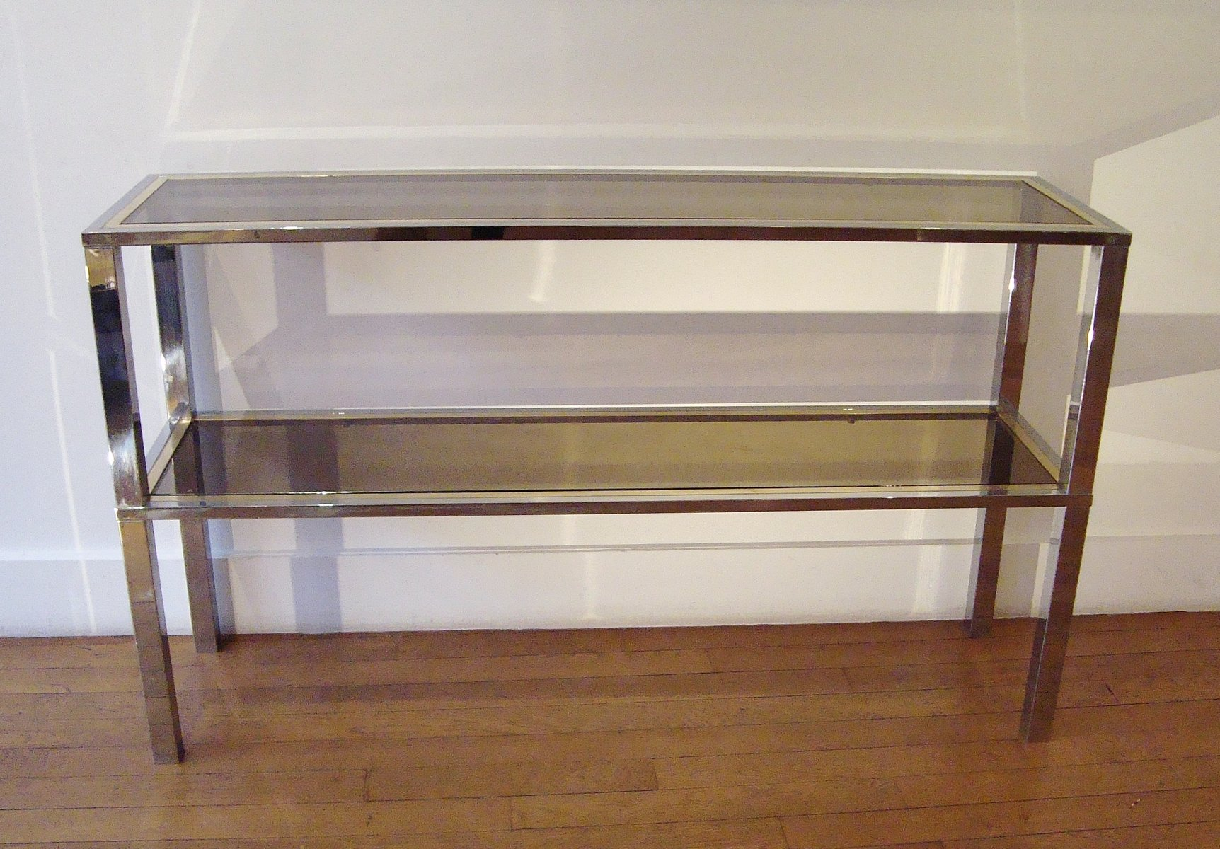MidCentury Italian Rectangular Brass and Glass Console Table by