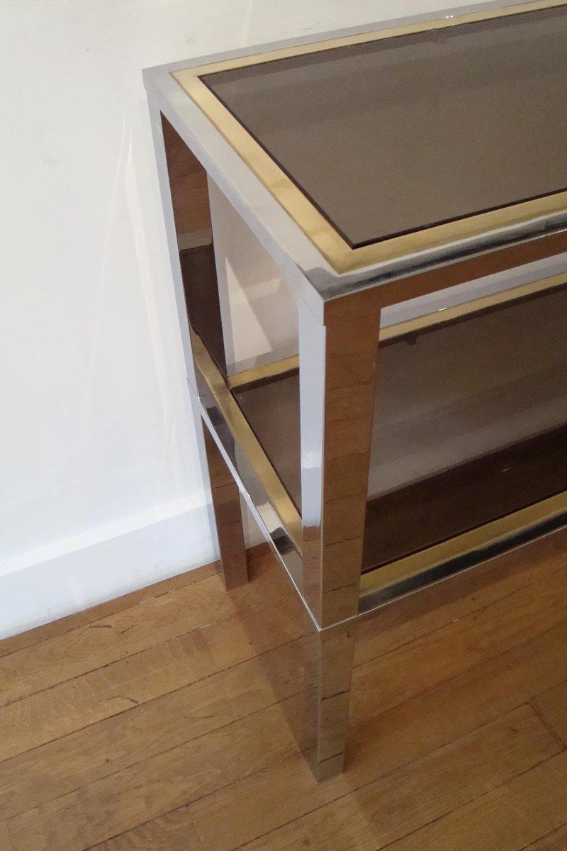italienischer rechteckiger mid century konsolentisch aus messing glas von romeo rega 1970er. Black Bedroom Furniture Sets. Home Design Ideas
