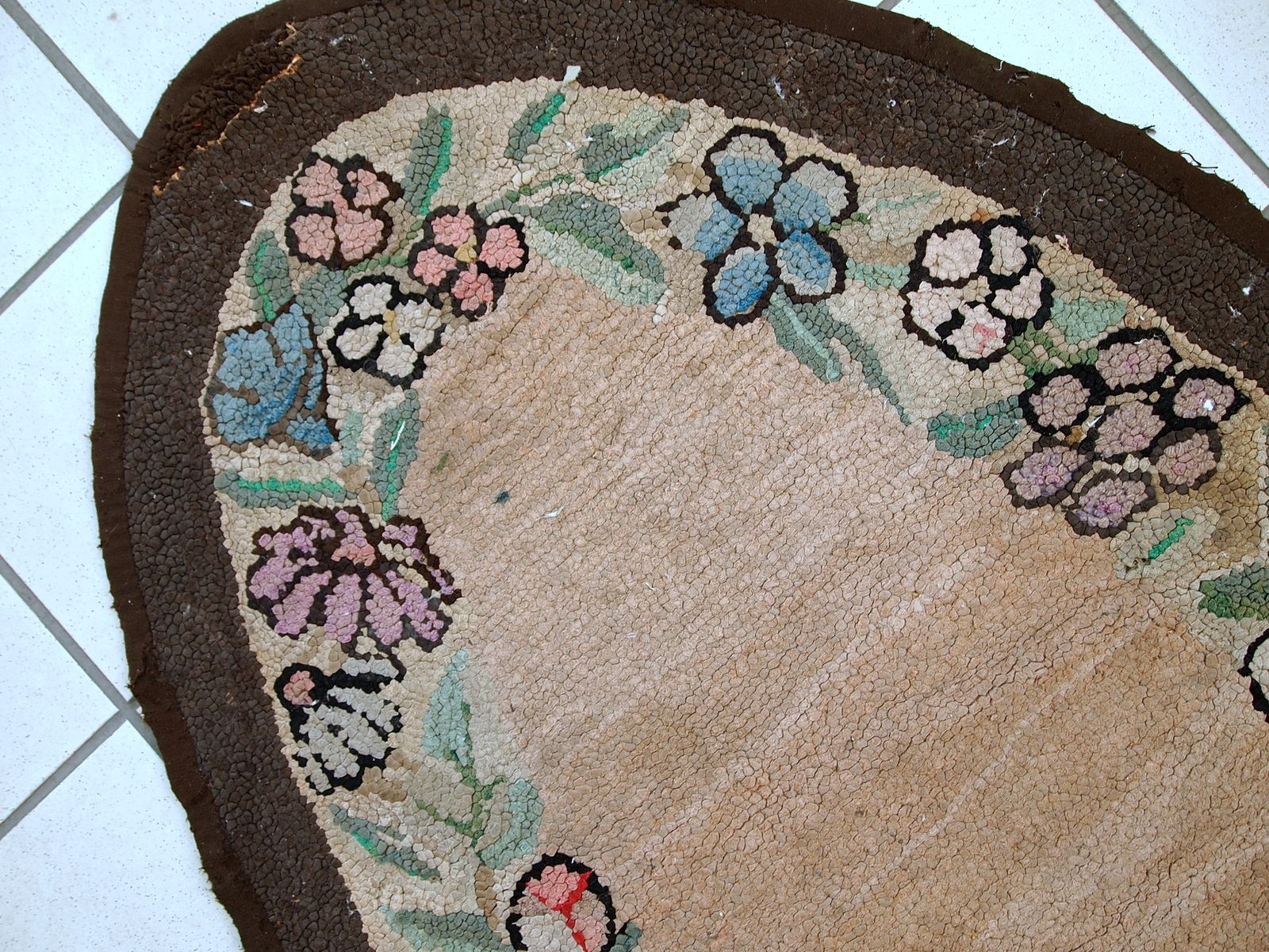 Antique American Handmade Oval Hooked Rug