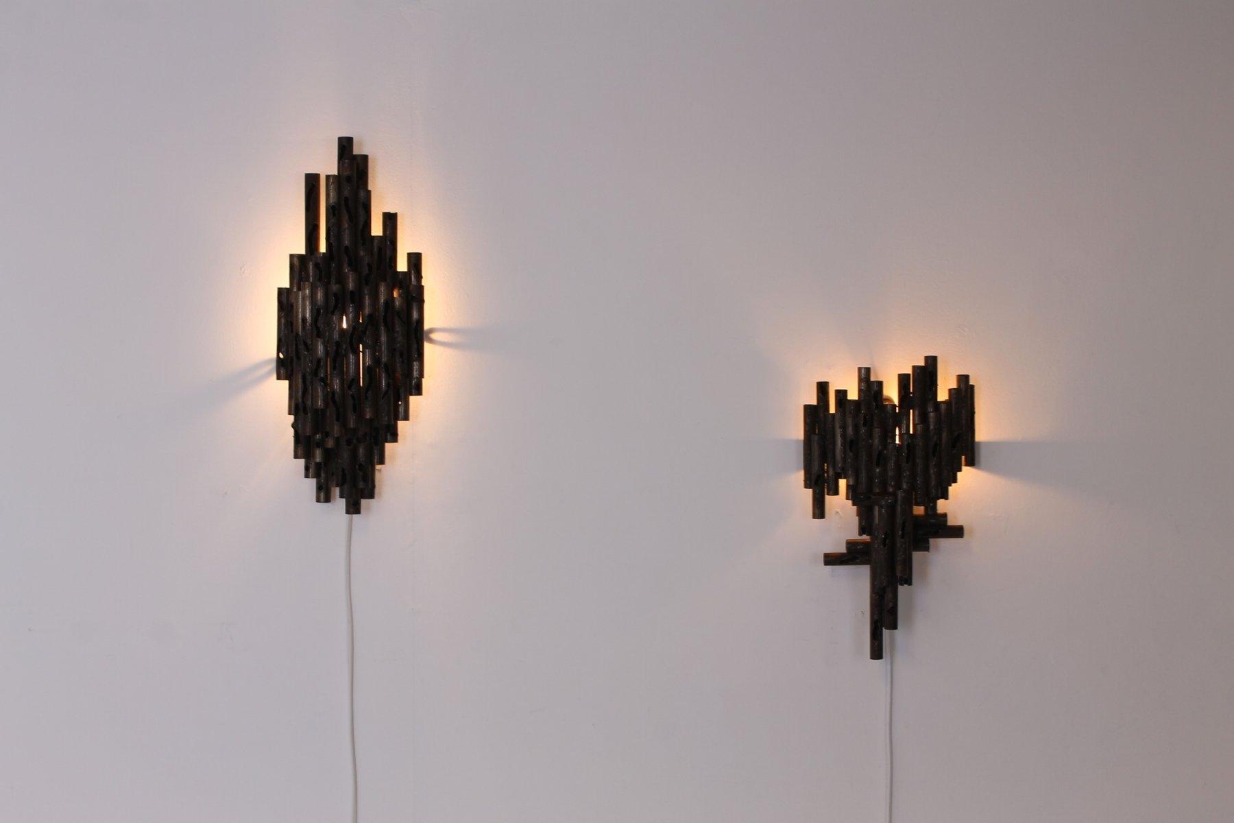 Brutalist torch cut metal wall lights by marcello fantoni 1960s brutalist torch cut metal wall lights by marcello fantoni 1960s set of 2 aloadofball Gallery