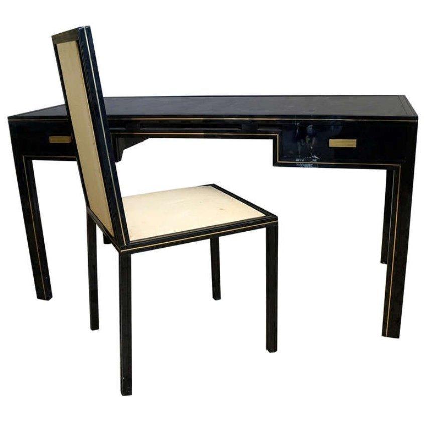 vintage schreibtisch mit passendem stuhl von pierre vandel. Black Bedroom Furniture Sets. Home Design Ideas
