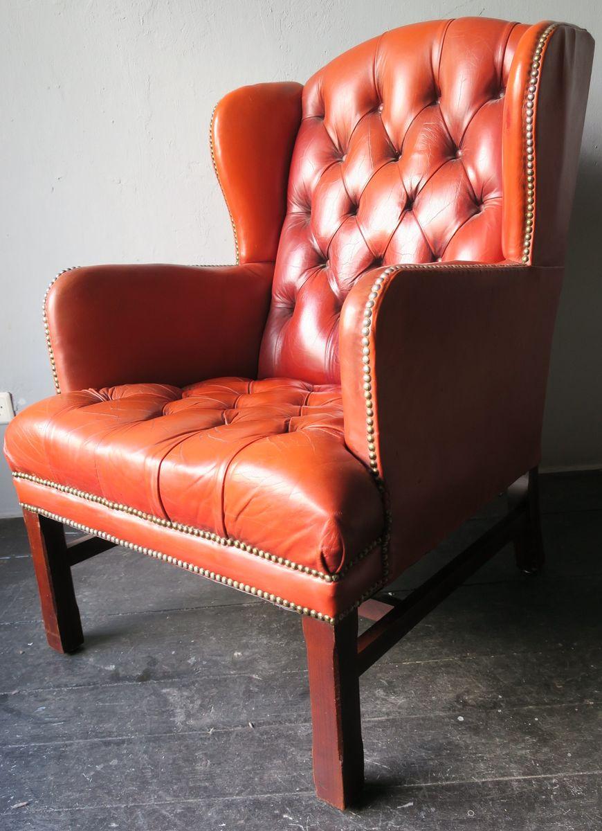 genieteter vintage chesterfield sessel aus braunem leder. Black Bedroom Furniture Sets. Home Design Ideas