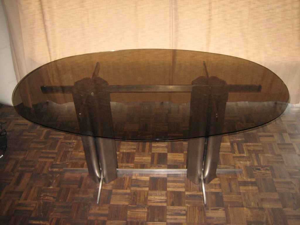 Vintage Oval St Gobain Glass Dining Table For Sale At Pamono