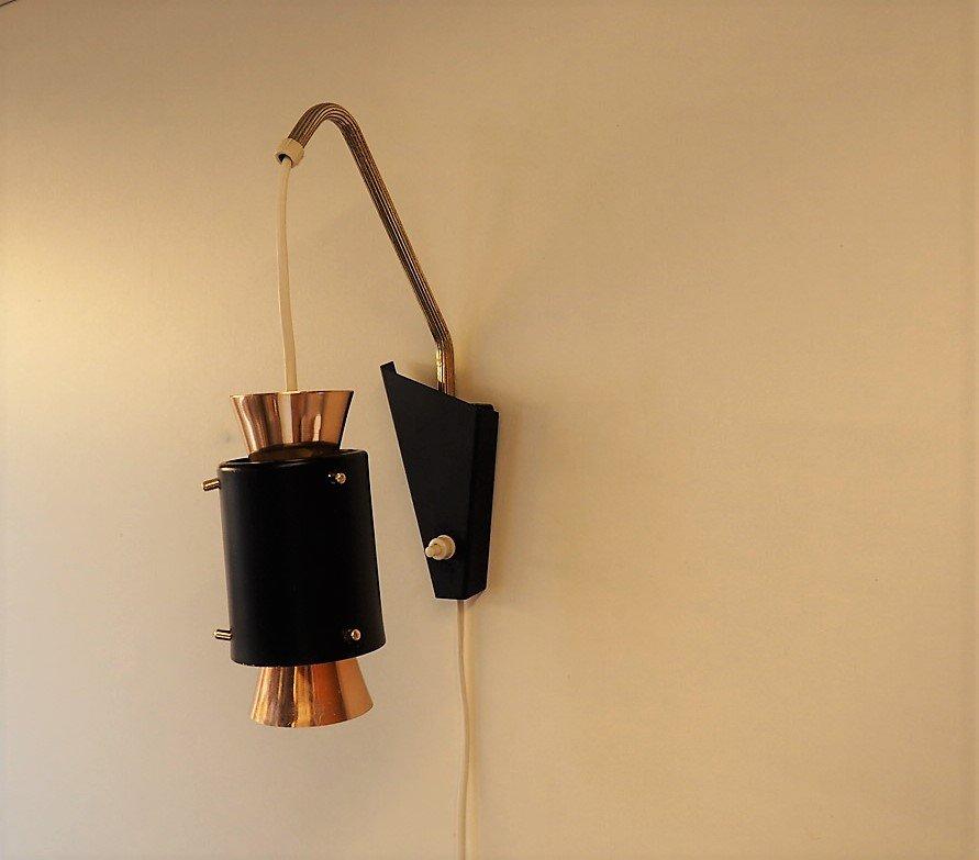 schwarze wandlampe aus kupfer mit messing details 1950er bei pamono kaufen. Black Bedroom Furniture Sets. Home Design Ideas
