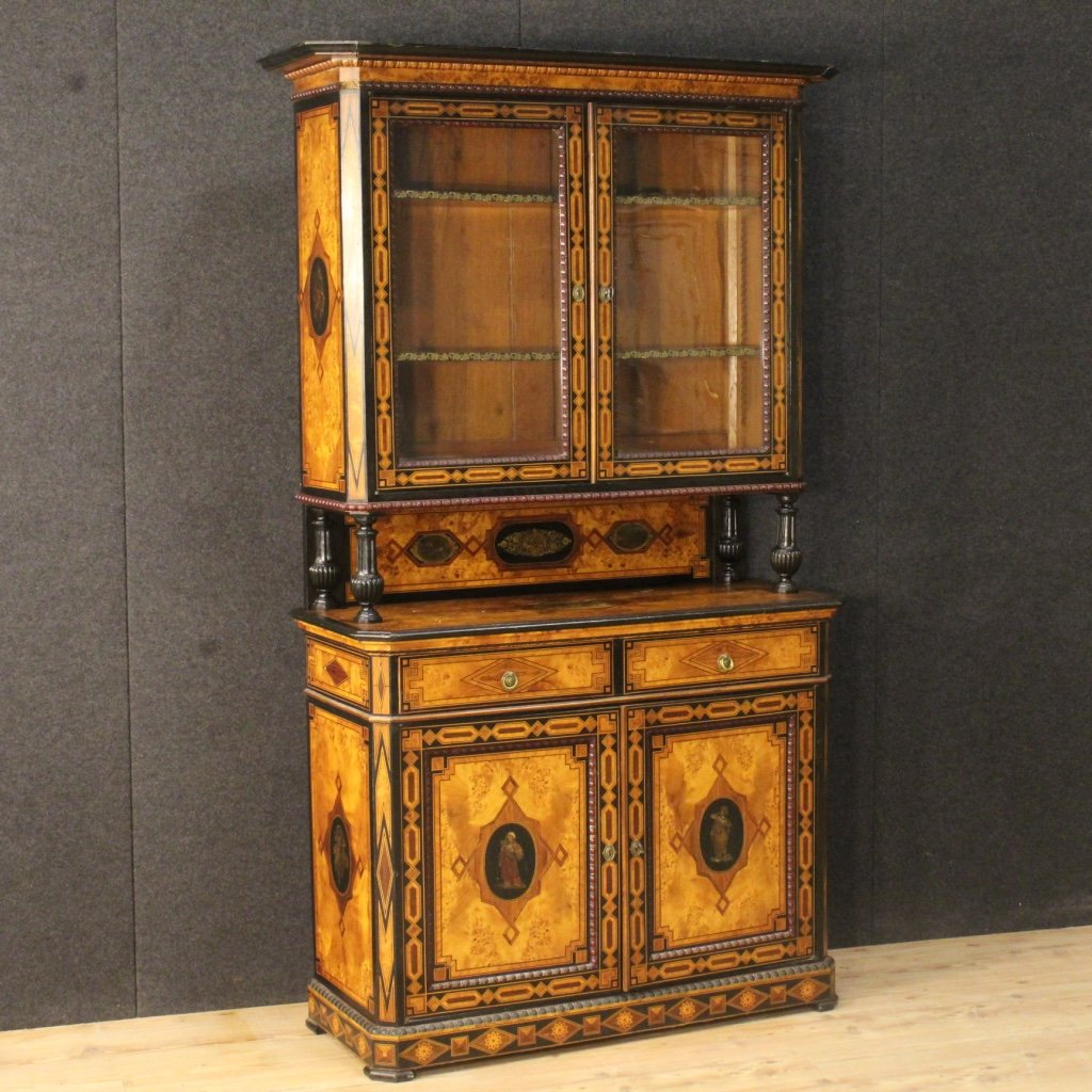- Antique English Inlaid Cupboard, 1870s For Sale At Pamono