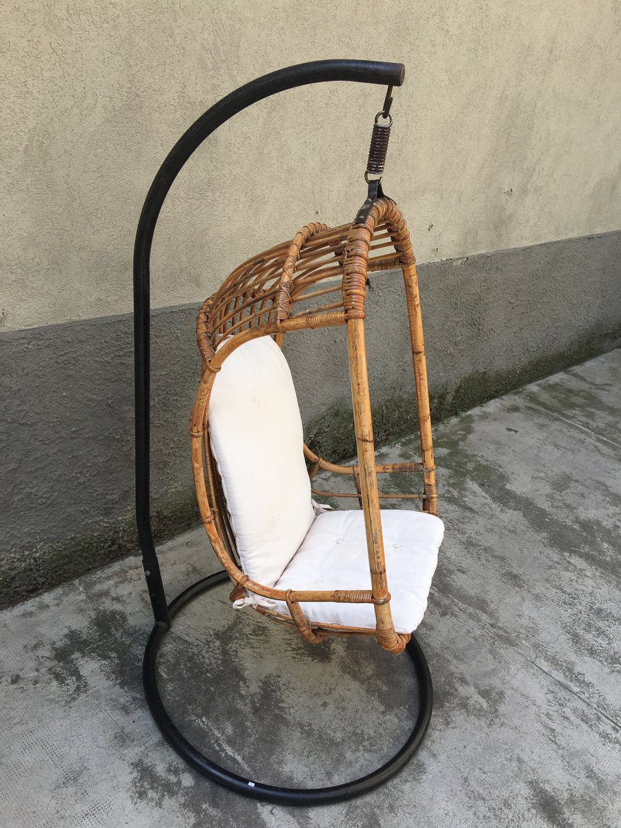 Mid Century Italian Rattan And Bamboo Hanging Chair 1950s