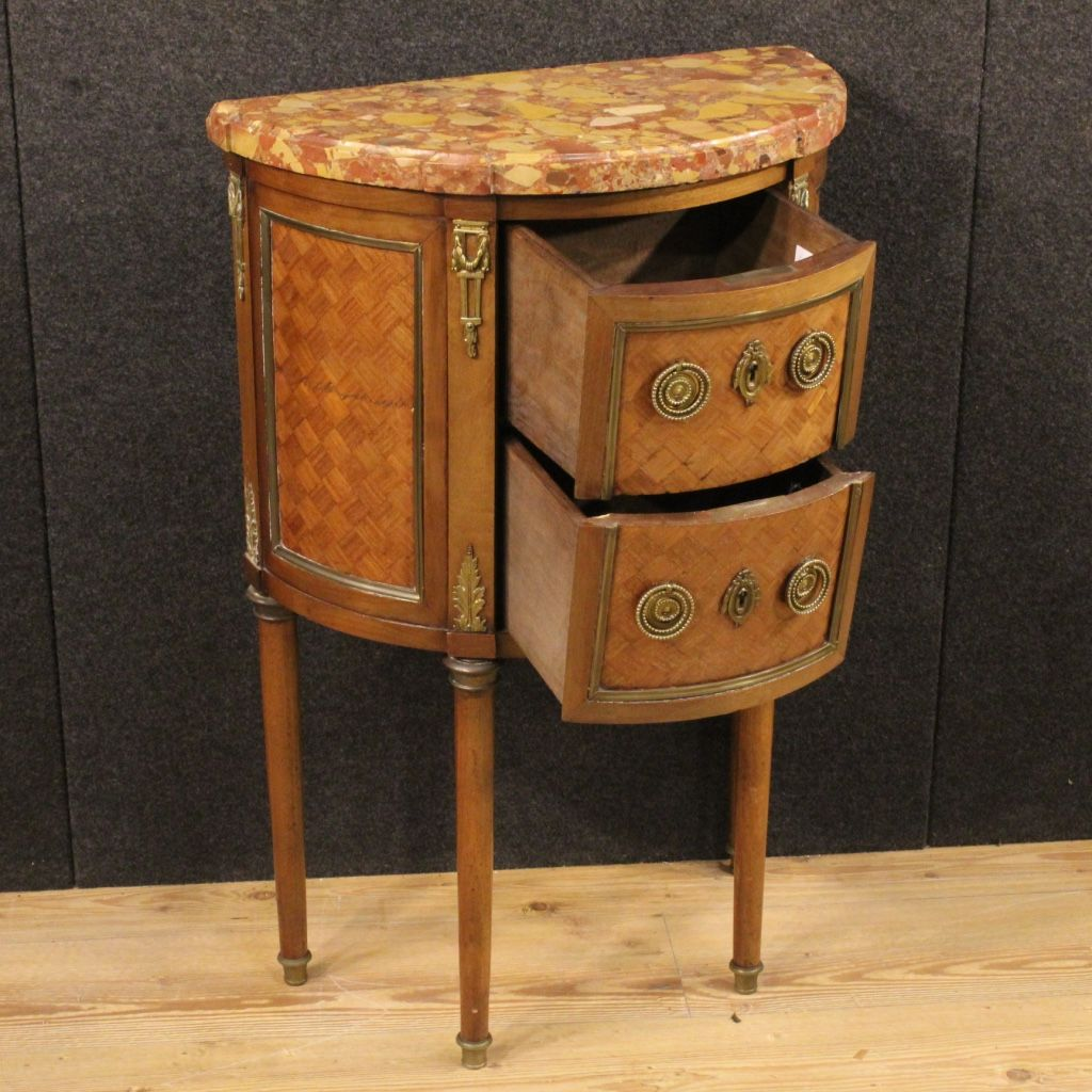 Small french inlaid demi lune commode with marble top for Chaise demi lune