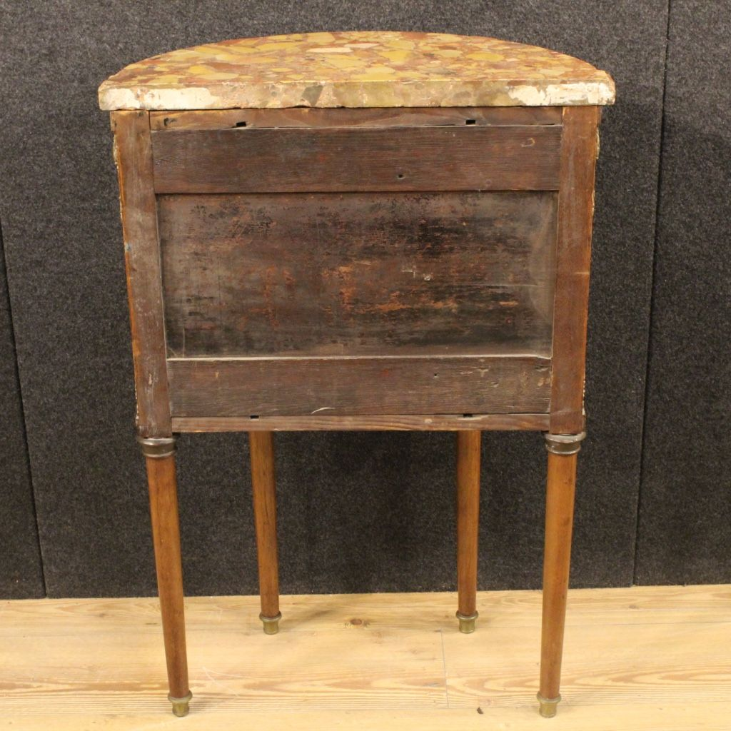 Small french inlaid demi lune commode with marble top for Baignoire demi lune