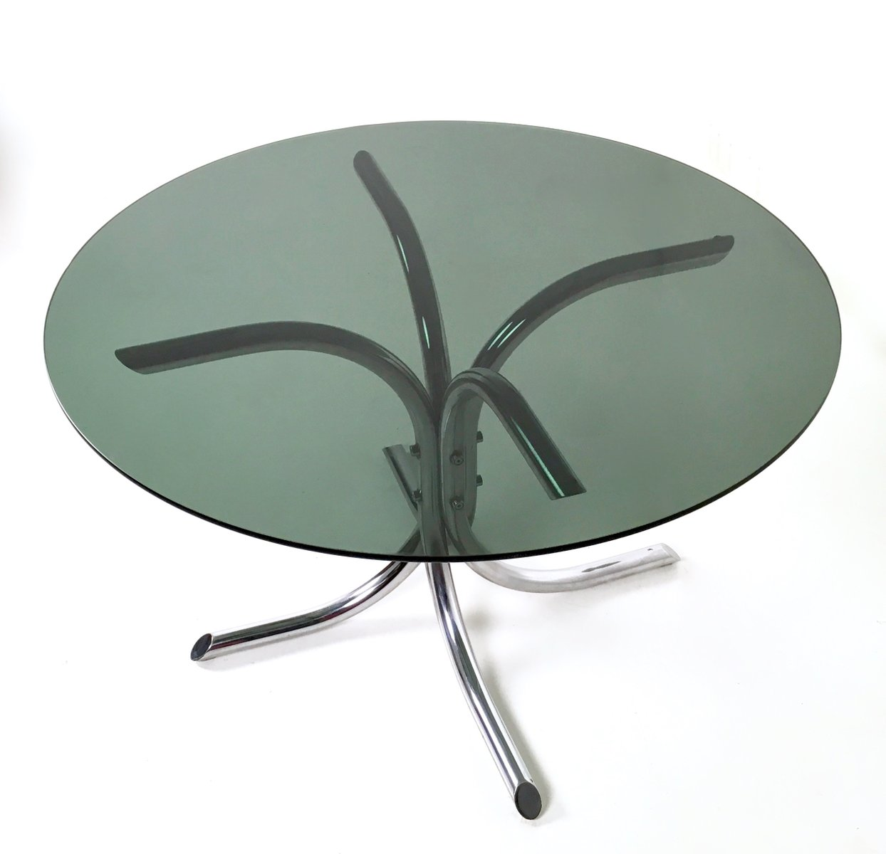 Italian Chromed Metal And Smoked Glass Dining Table, 1970s
