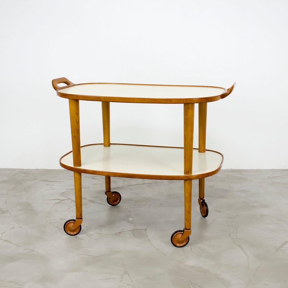 servierwagen aus kirschholz resopal 1950er bei pamono kaufen. Black Bedroom Furniture Sets. Home Design Ideas