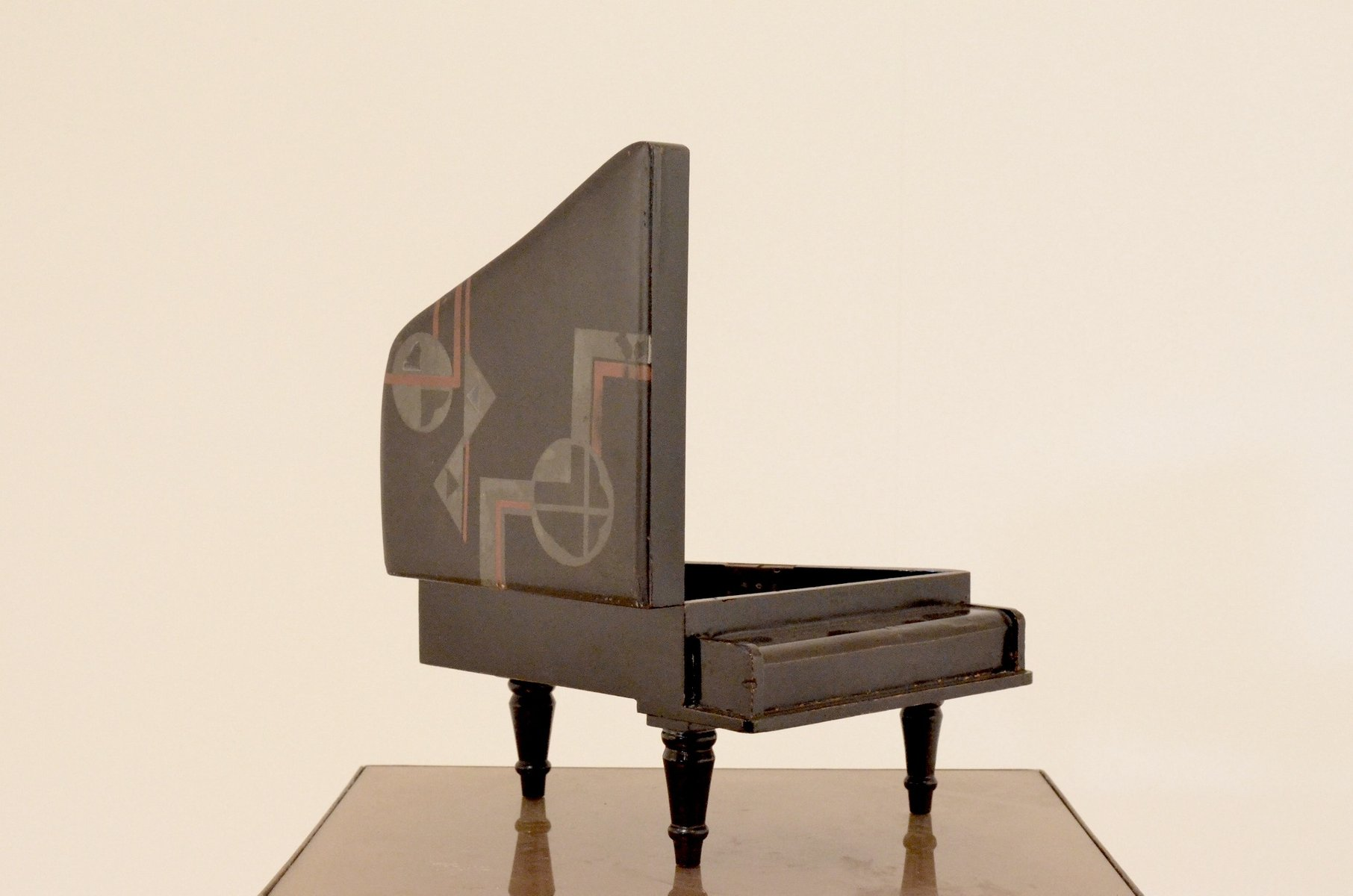 Art Deco Black Lacquered Wooden Piano Shaped Jewelry Box 1920s for