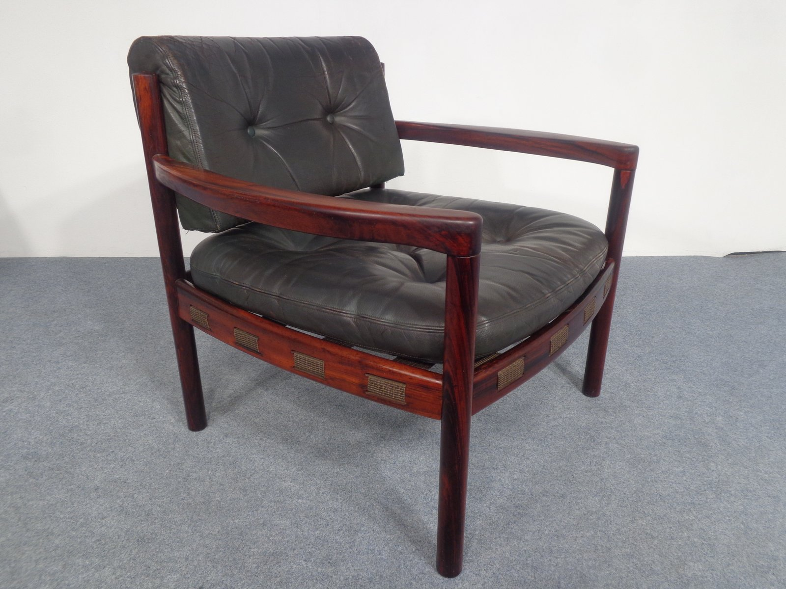 Perfect Mid Century Swedish Rosewood And Black Leather Armchair By Arne Norell,  1960s