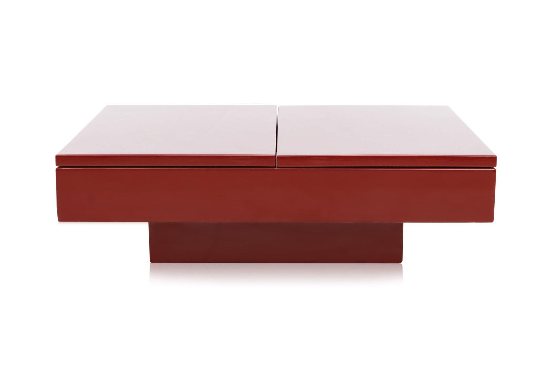Rot lackierter ausziehbarer couchtisch von jean claude for Couchtisch rot