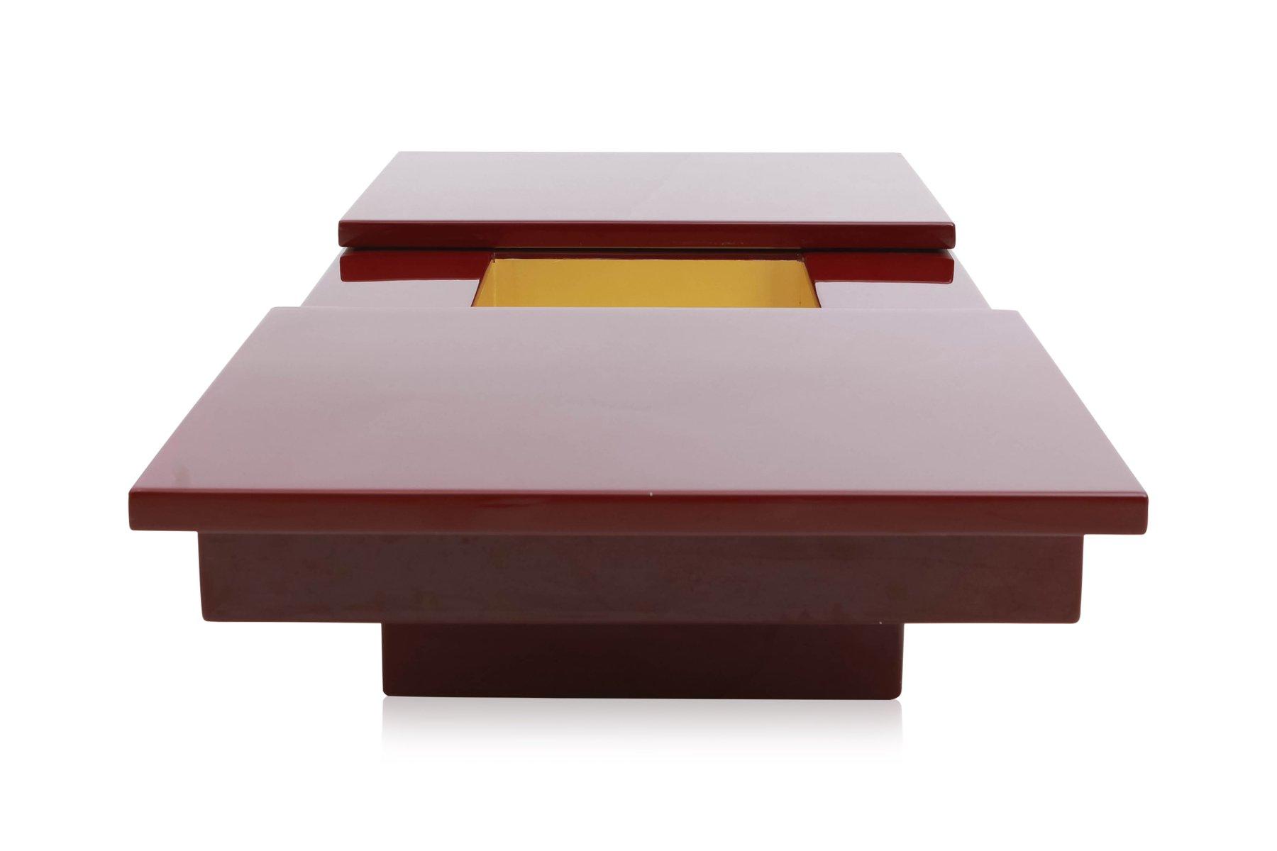 Tavolino da caffè con mobile bar e ante scorrevoli laccato rosso di ...