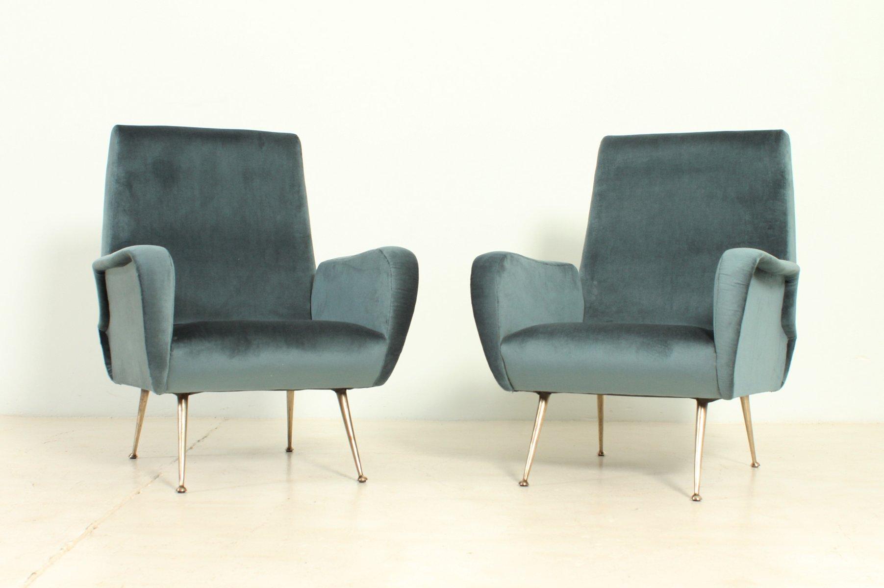 Poltrone vintage di velluto con gambe in ottone italia anni 39 50 set di 2 in vendita su pamono - Poltrone vintage design ...