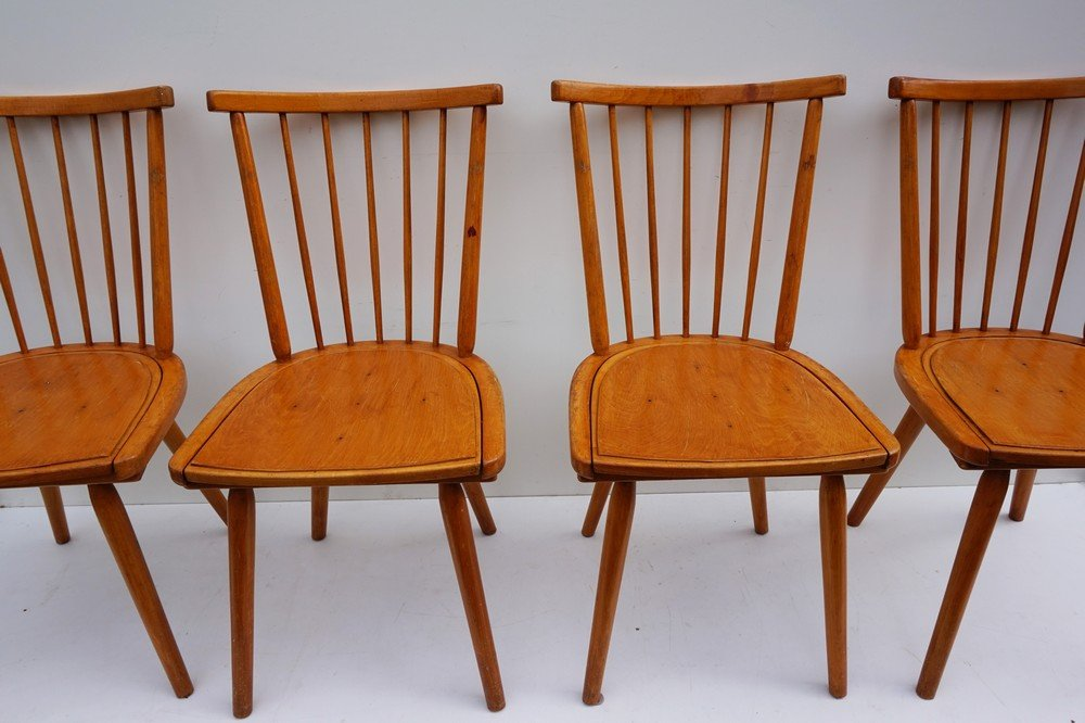 Wonderful Dutch Wooden Spindle Back Dining Chairs, 1960s, Set Of 4